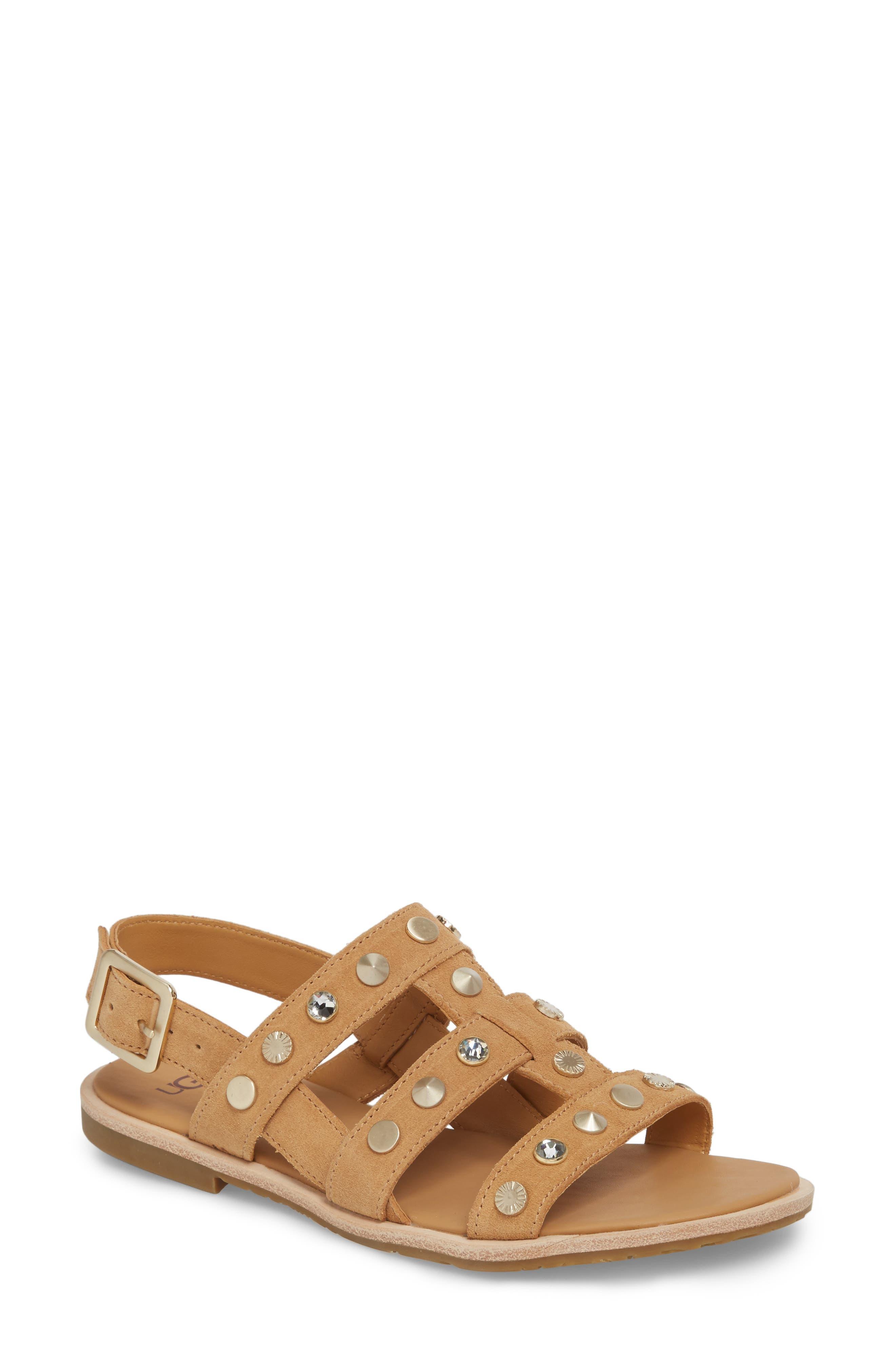 Zariah Studded Sandal,                         Main,                         color, Latte Suede