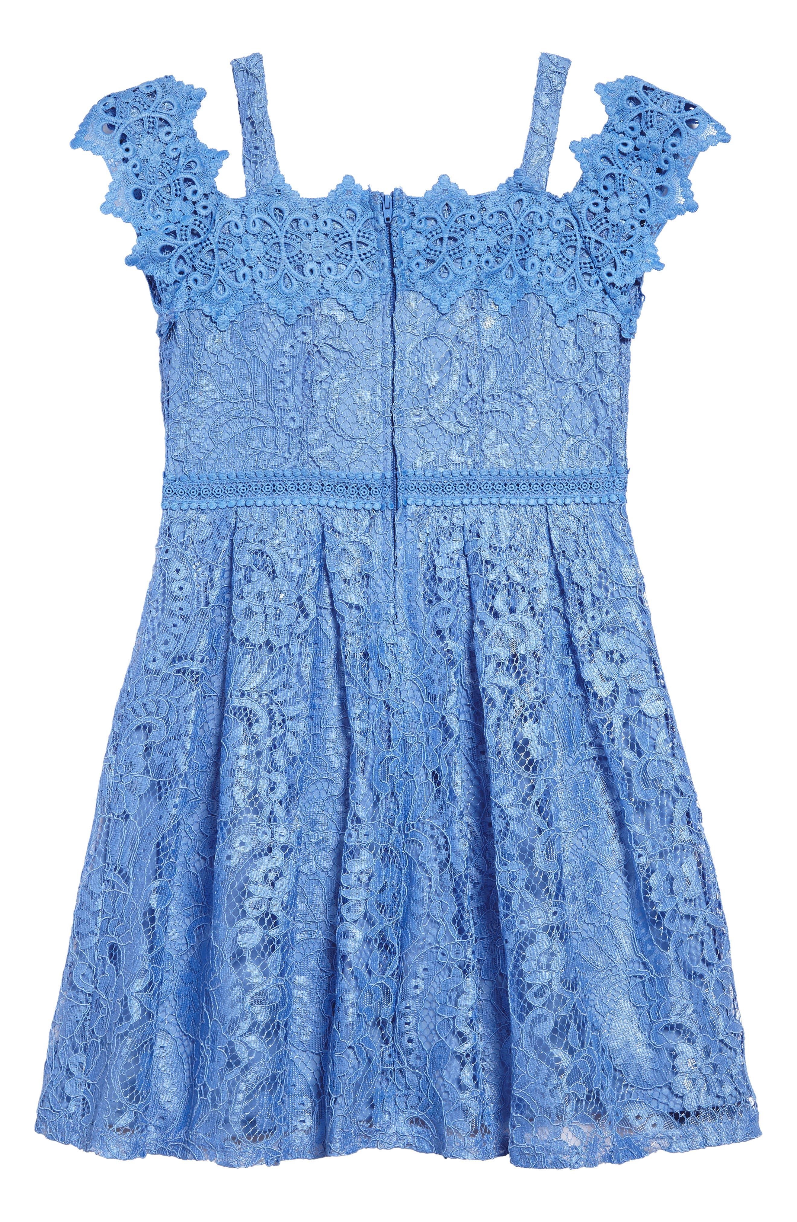 Lace Cold Shoulder Dress,                             Alternate thumbnail 2, color,                             Cornflower