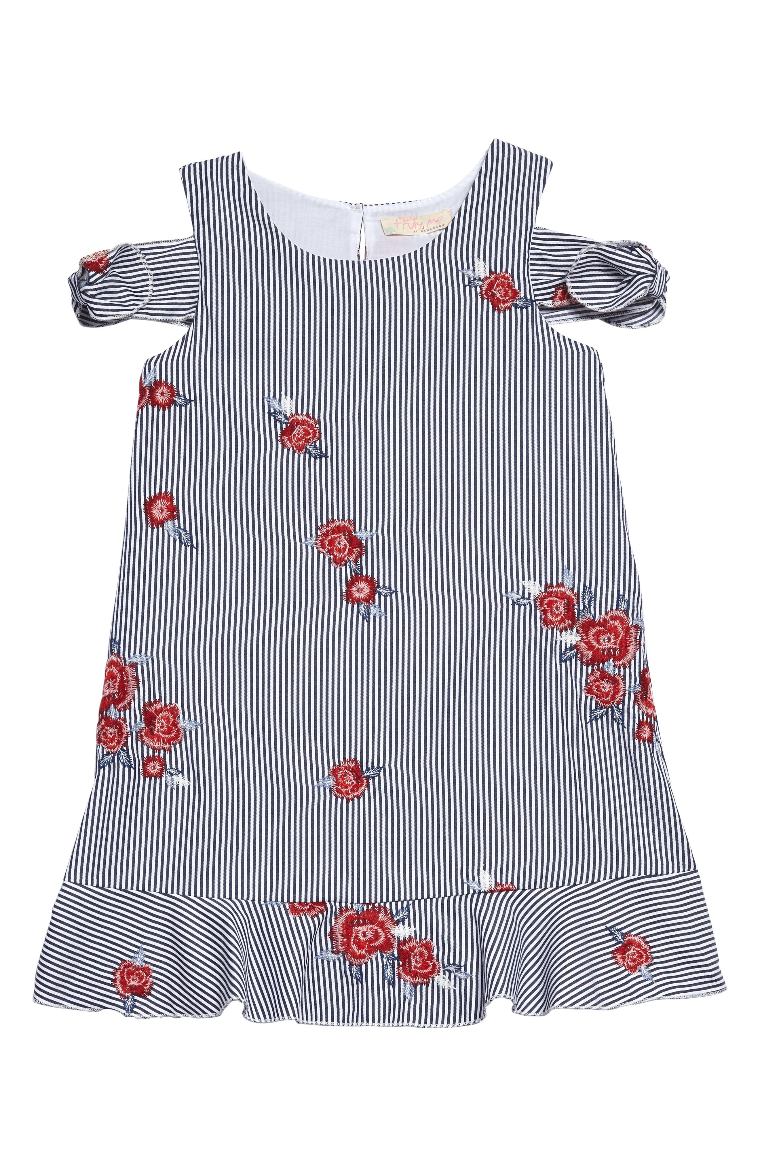 Embroidered Stripe Dress,                             Main thumbnail 1, color,                             Navy Multi