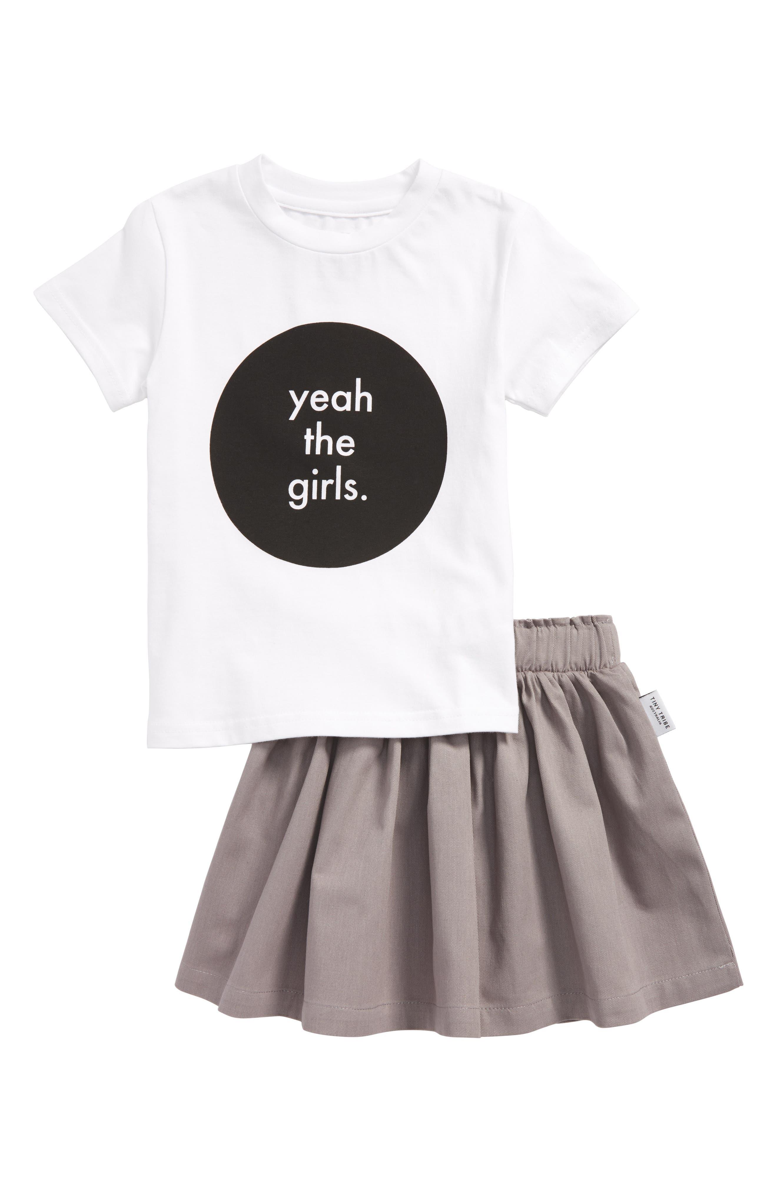 Yeah the Girls Tee & Skirt Set,                             Main thumbnail 1, color,                             White / Grey
