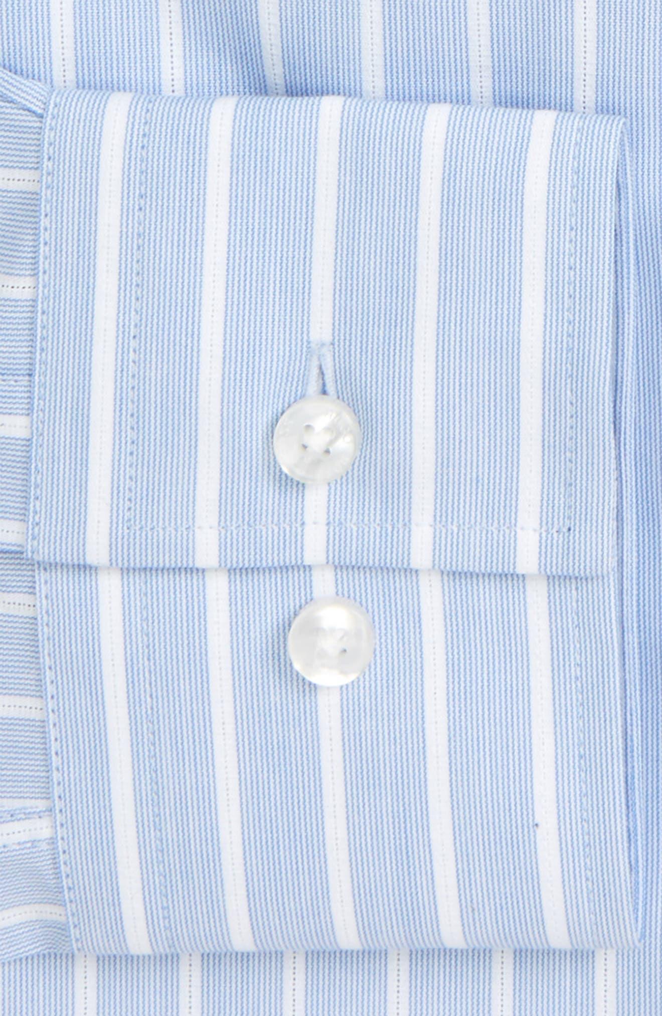 Jenno Slim Fit Stripe Dress Shirt,                             Alternate thumbnail 5, color,                             Blue