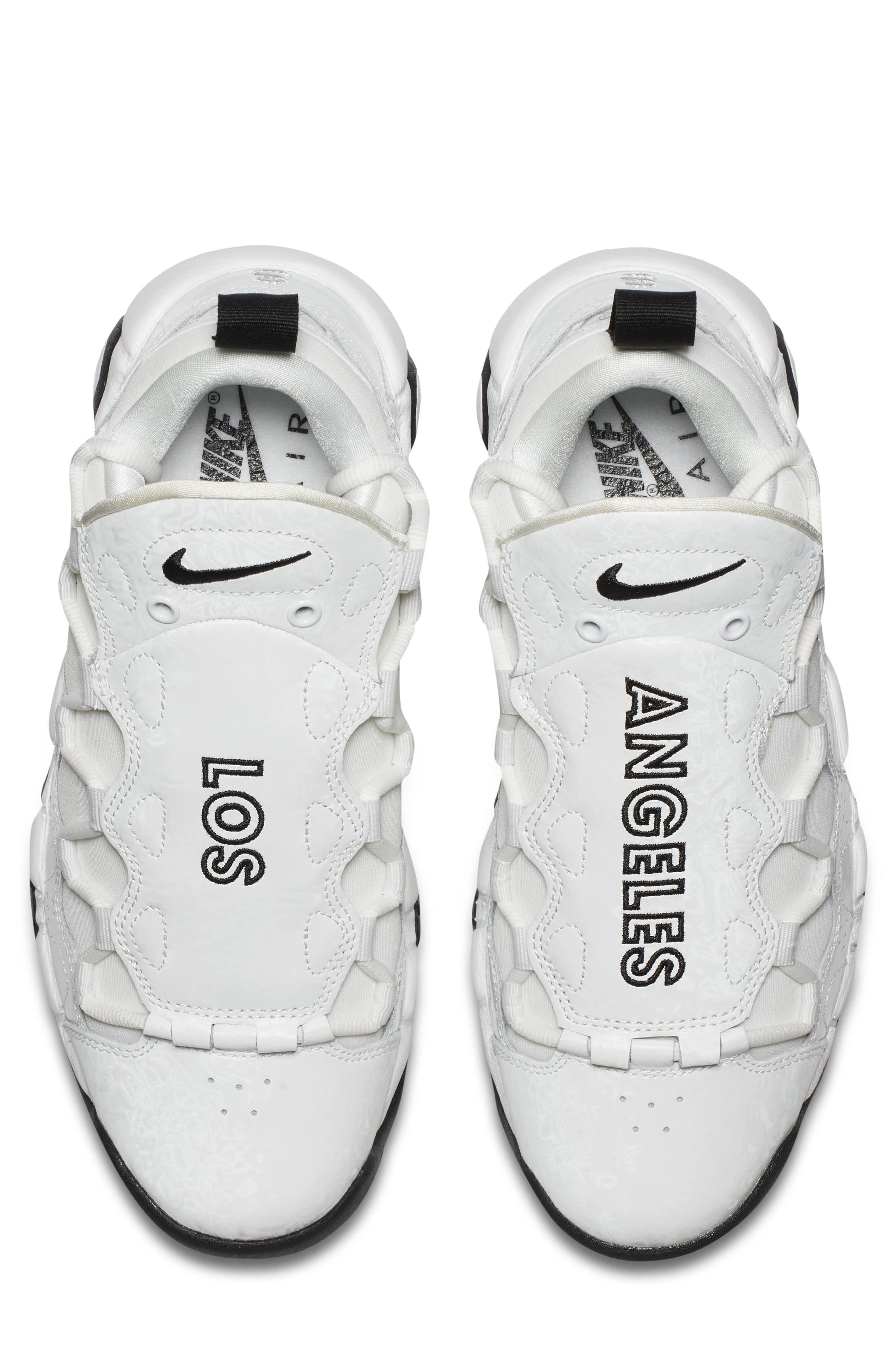 Air More Money LX Sneaker,                             Alternate thumbnail 4, color,                             Summit White/ Black