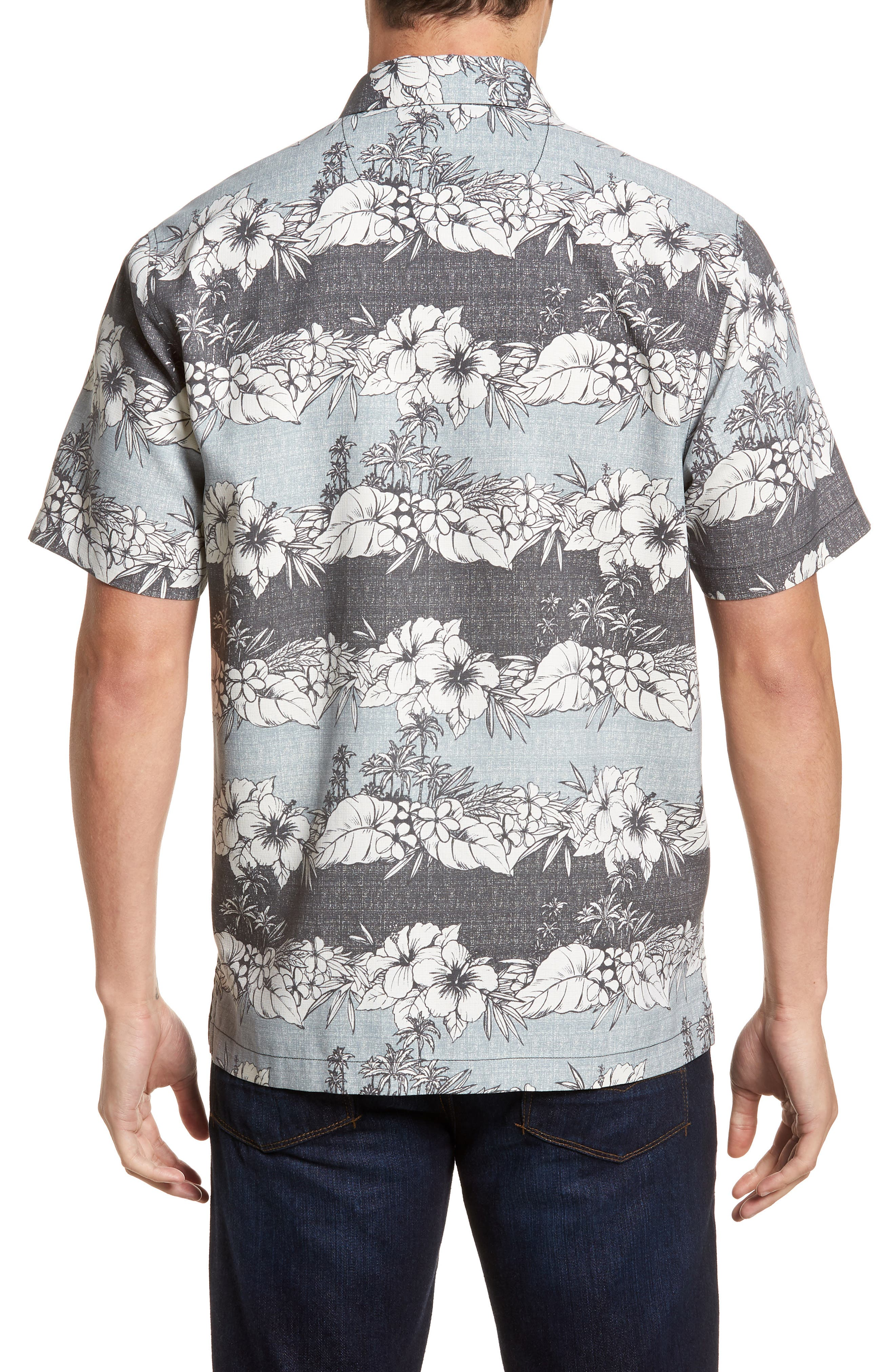 Sky Vines Silk Blend Camp Shirt,                             Alternate thumbnail 2, color,                             Fog Grey