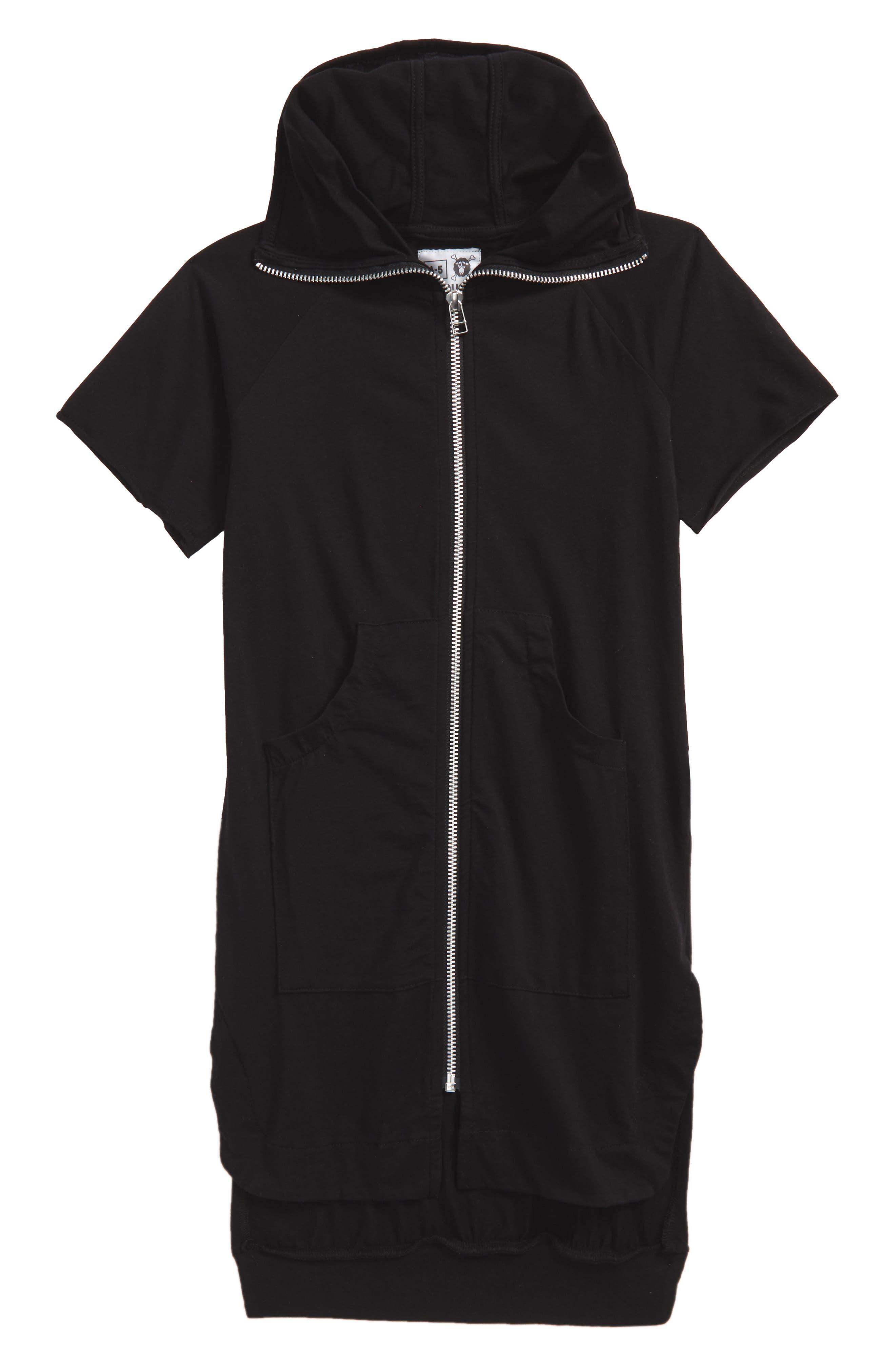 Maxi Short Sleeve Hoodie,                             Main thumbnail 1, color,                             Black