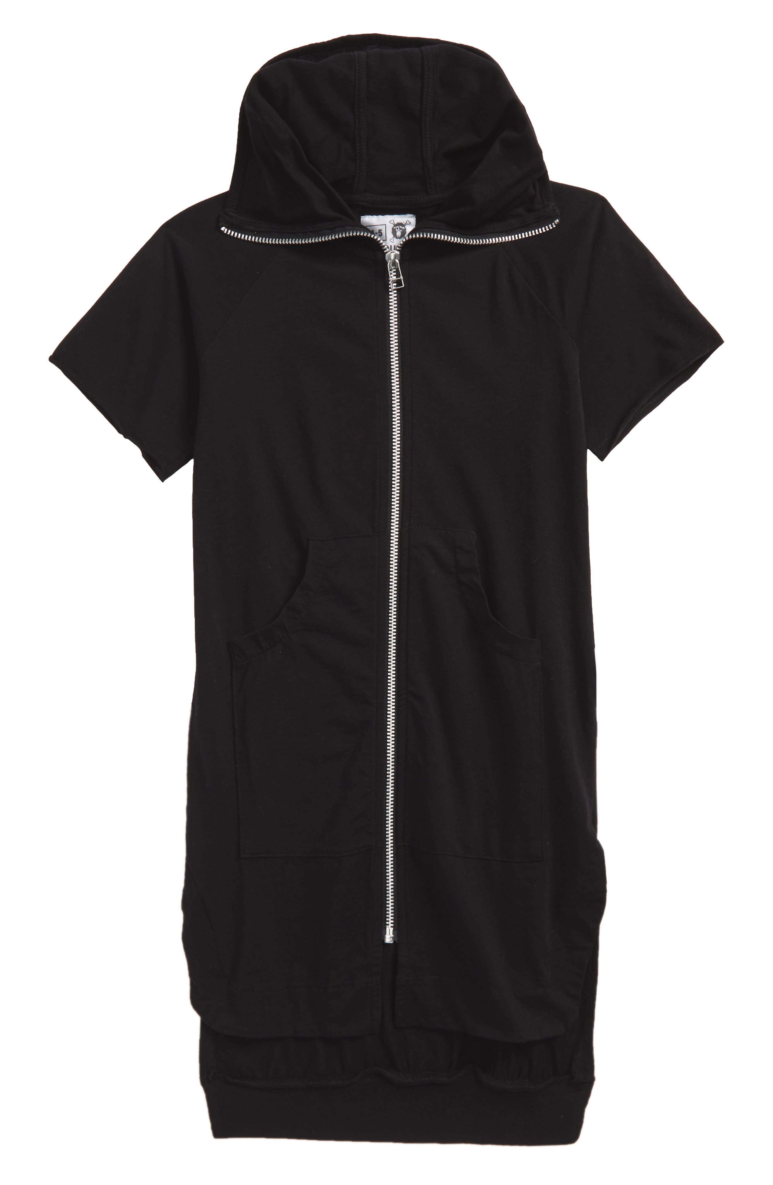 Maxi Short Sleeve Hoodie,                         Main,                         color, Black