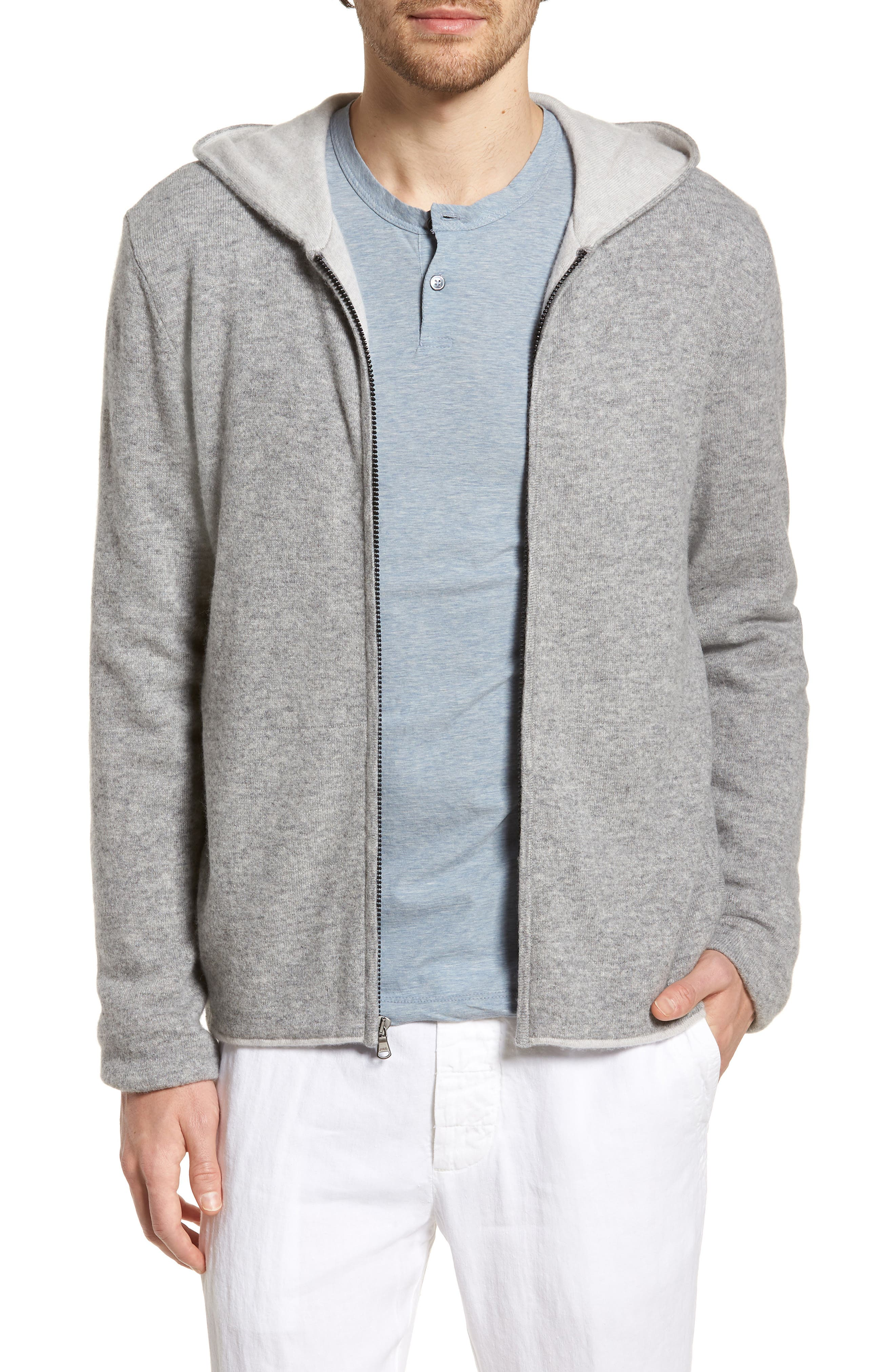 Cashmere Zip Hoodie,                         Main,                         color, Heather Grey/ Pearl