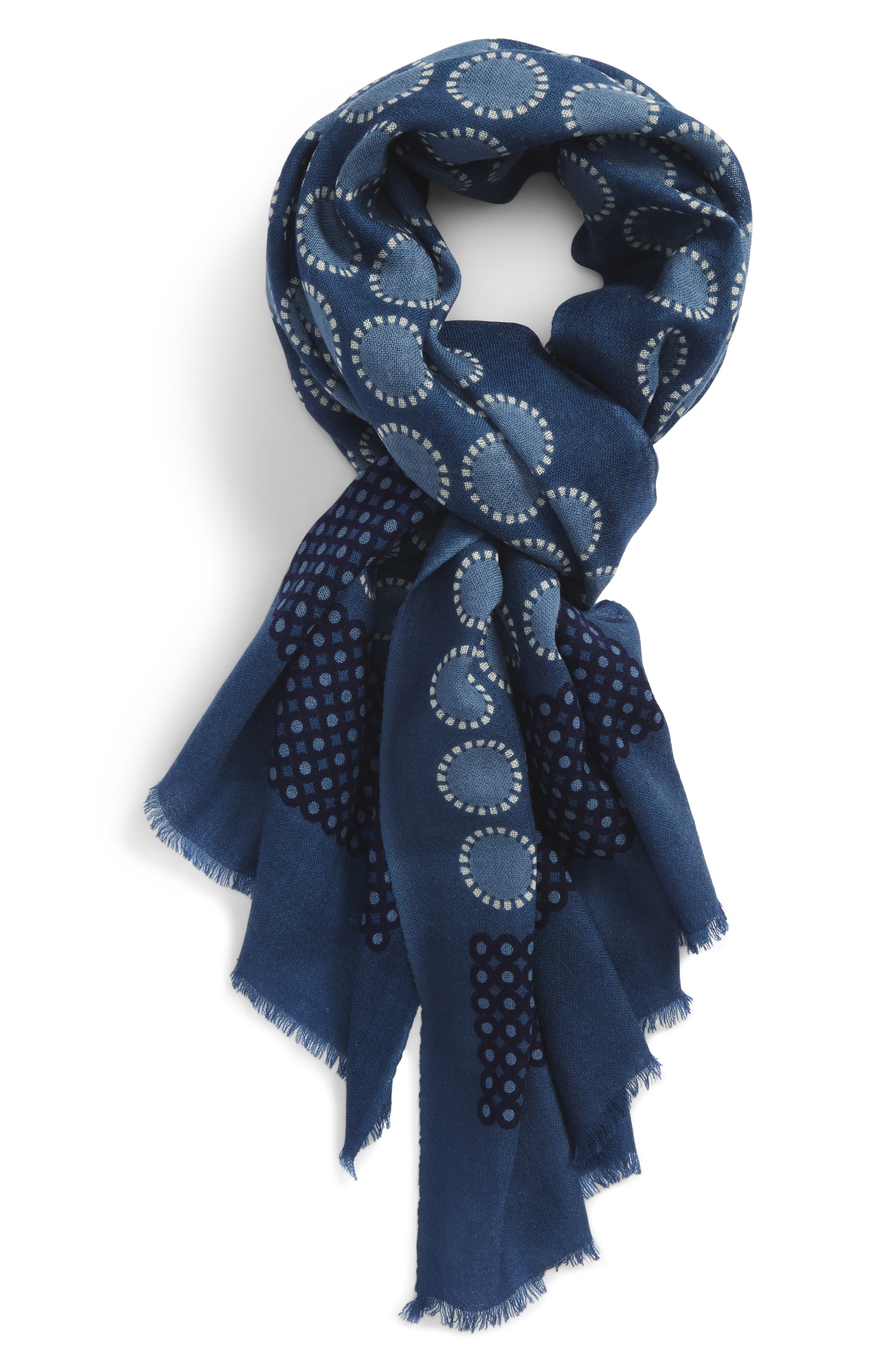Dot Wool Scarf,                         Main,                         color, Navy Denim