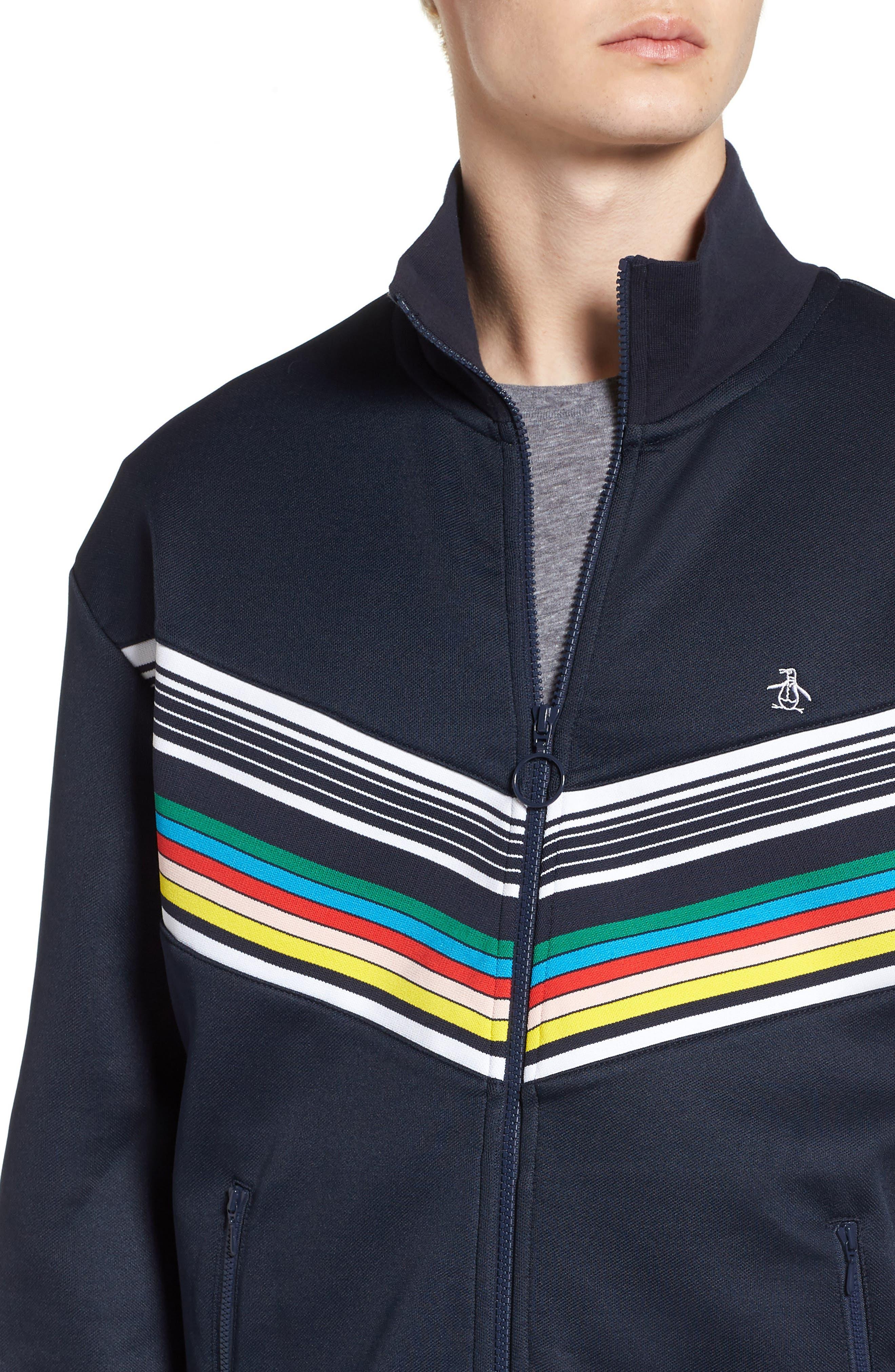 Stripe Track Jacket,                             Alternate thumbnail 4, color,                             Dark Sapphire