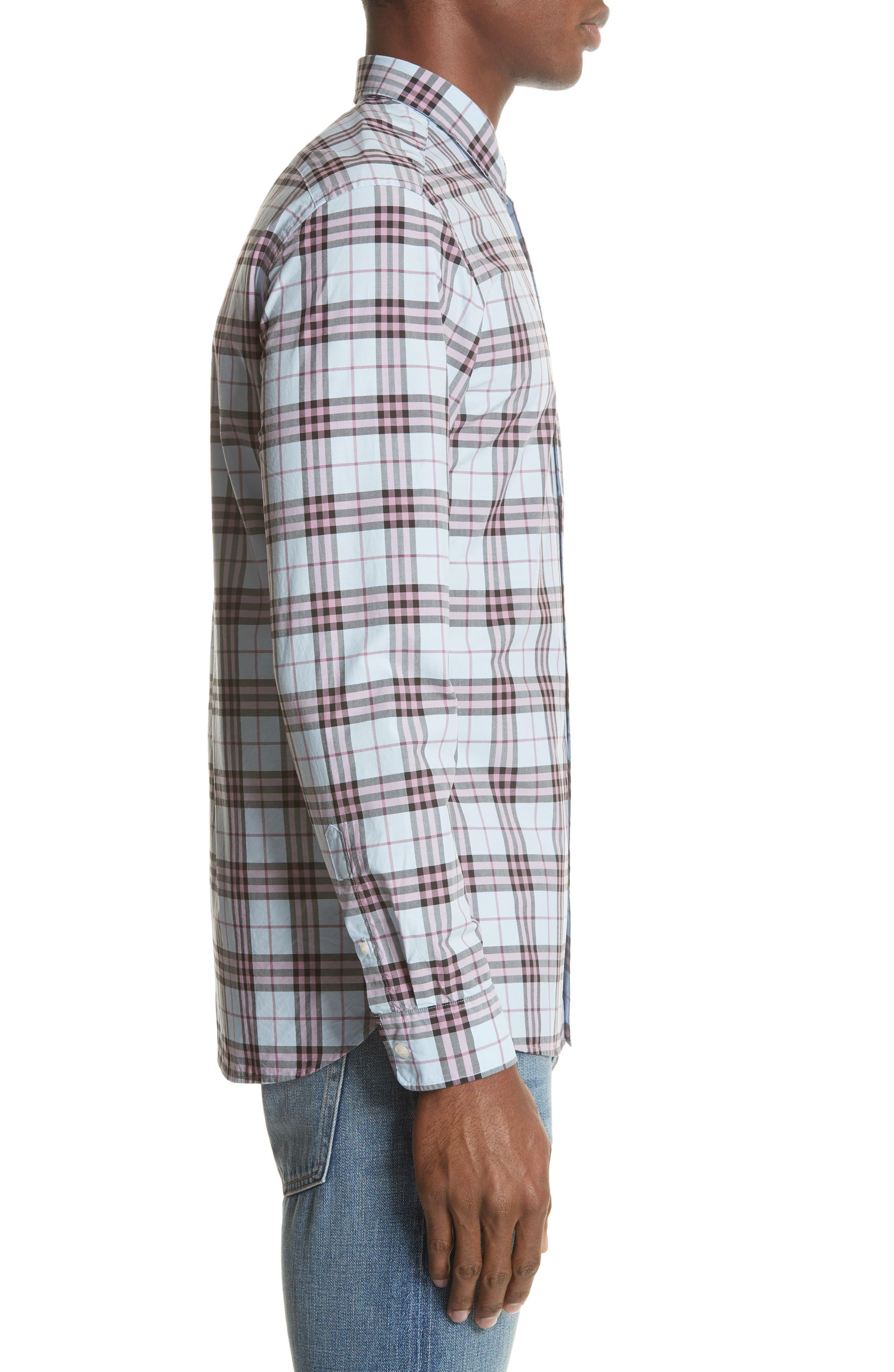 Alexander Standard Fit Check Sport Shirt,                             Alternate thumbnail 4, color,                             Lavender Blue