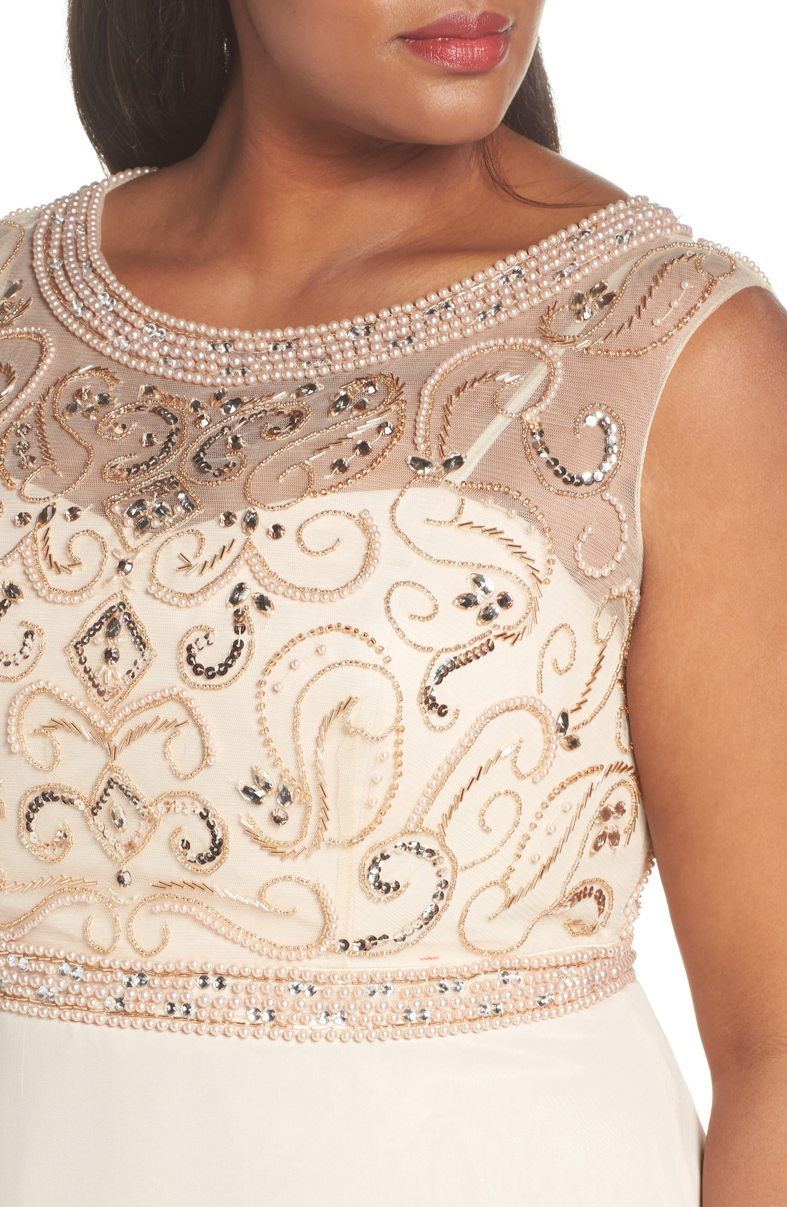 Sleeveless Beaded Gown,                             Alternate thumbnail 4, color,                             Champagne