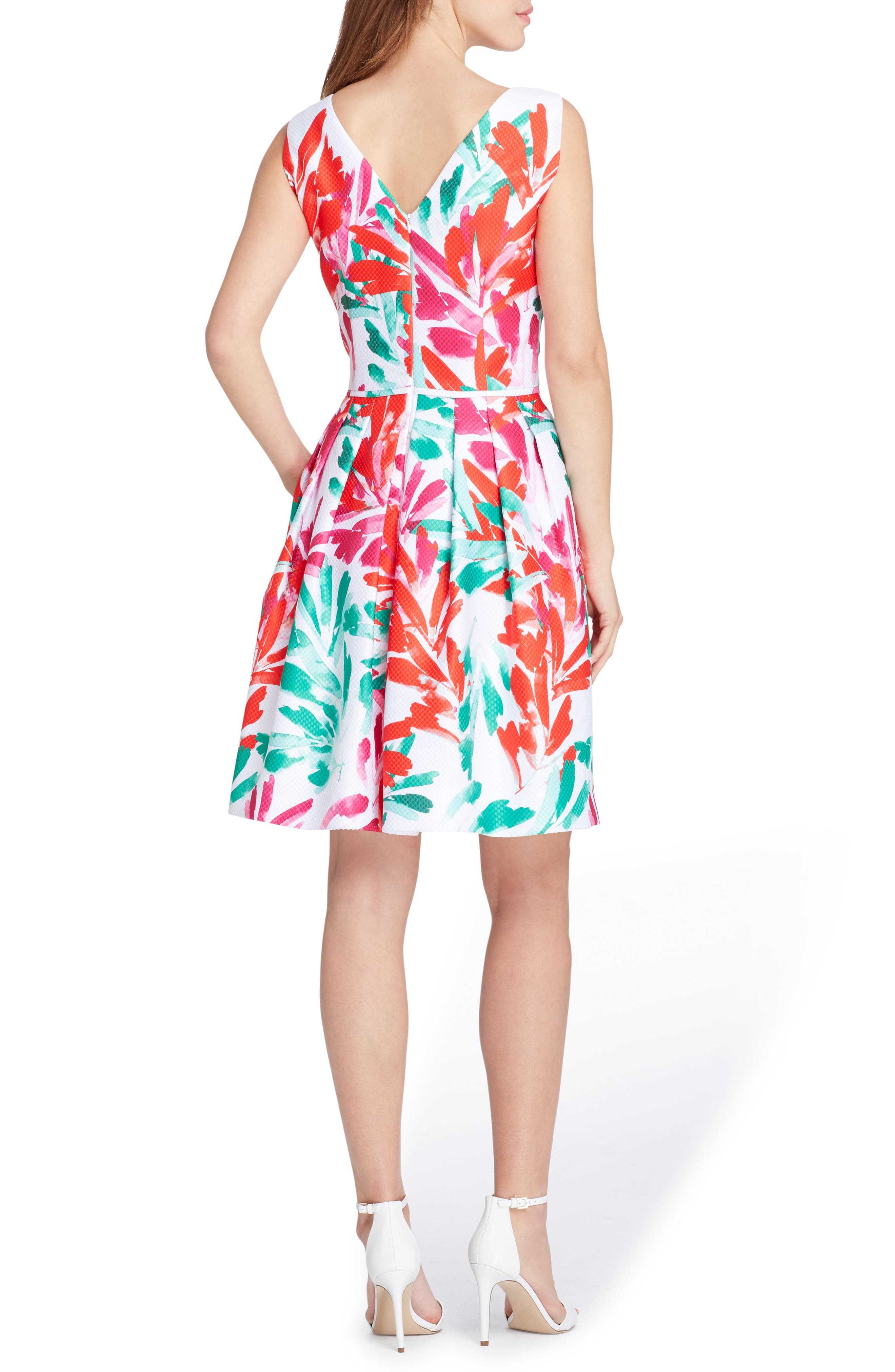 Print Jacquard Dress,                             Alternate thumbnail 2, color,                             White/ Coral/ Sea Glass