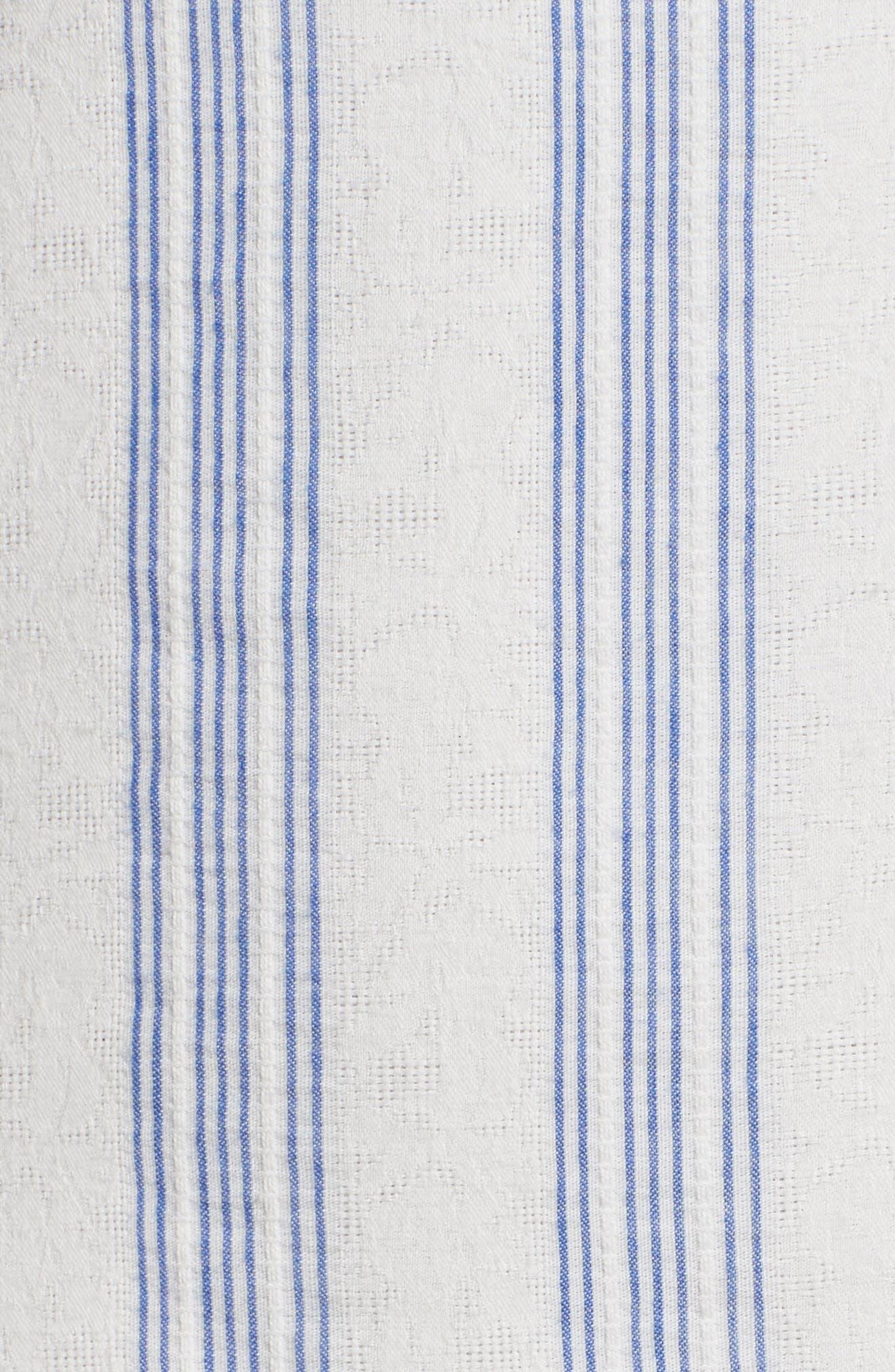 Stripe Ruffle Sheath Dress,                             Alternate thumbnail 5, color,                             White/ Blue