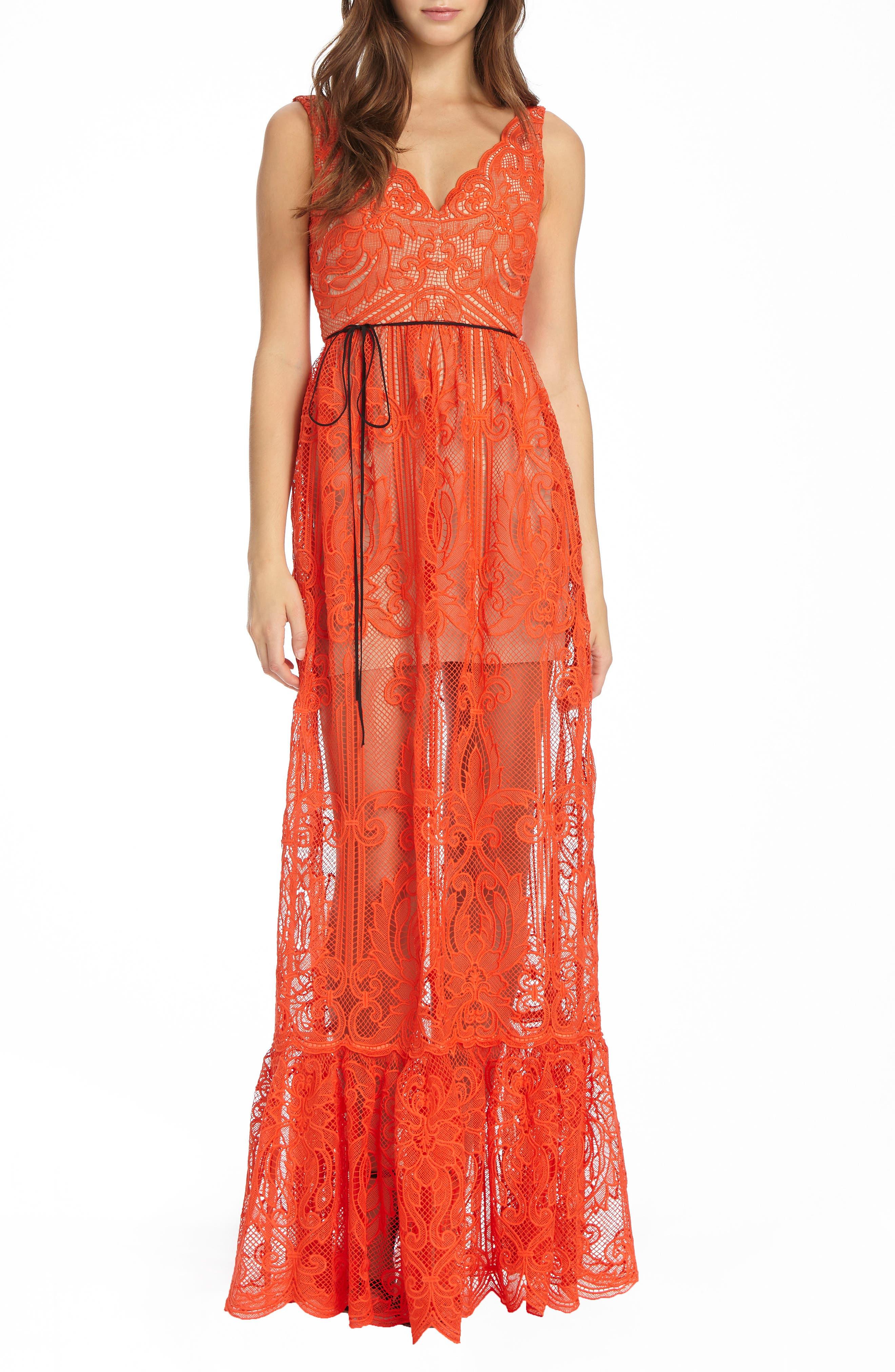ML Monique Lhullier Lace Gown,                             Main thumbnail 1, color,                             Persimmon