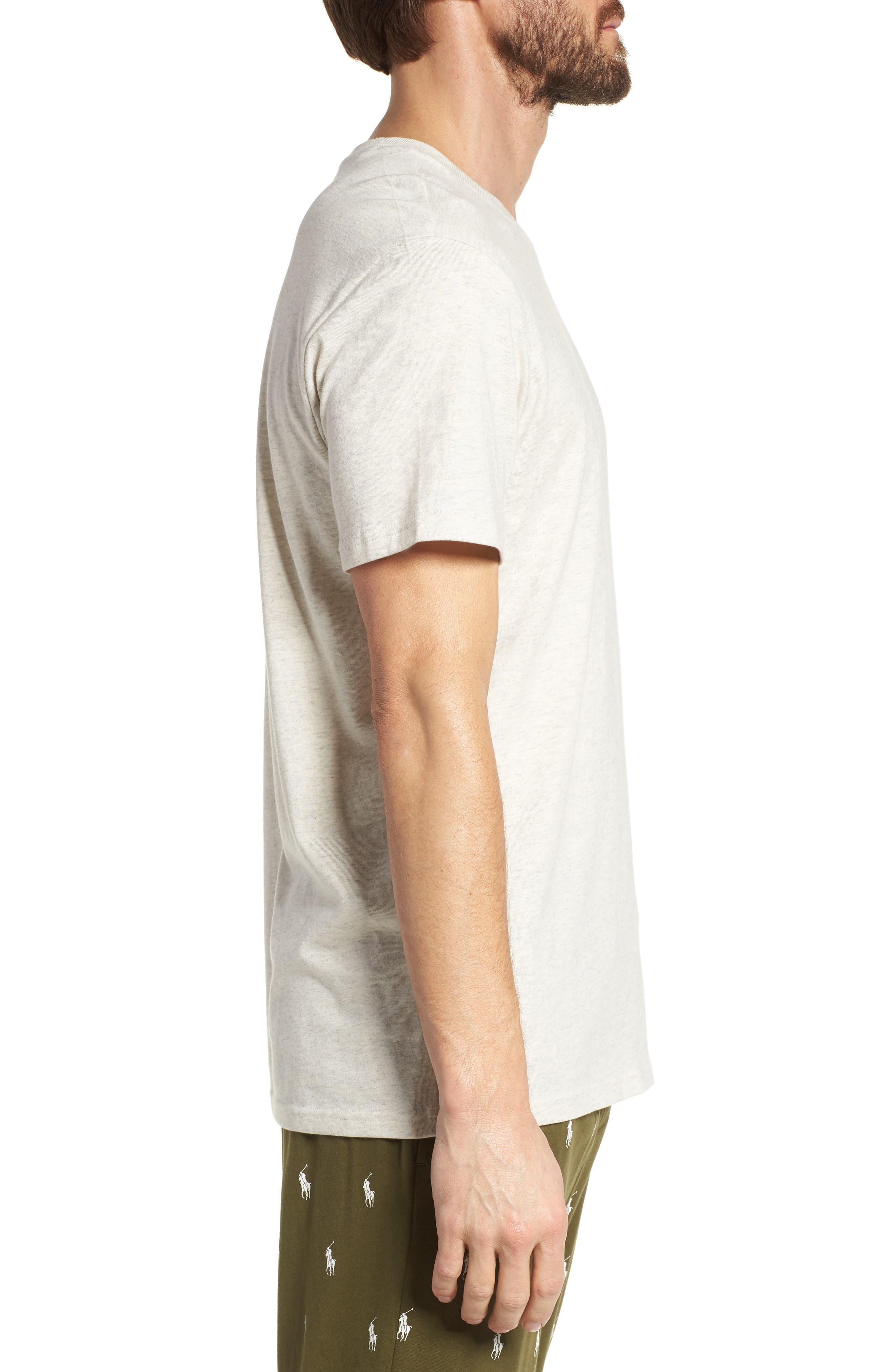 Supreme Comfort Crewneck T-Shirt,                             Alternate thumbnail 3, color,                             Sand Heather/ Bright Navy