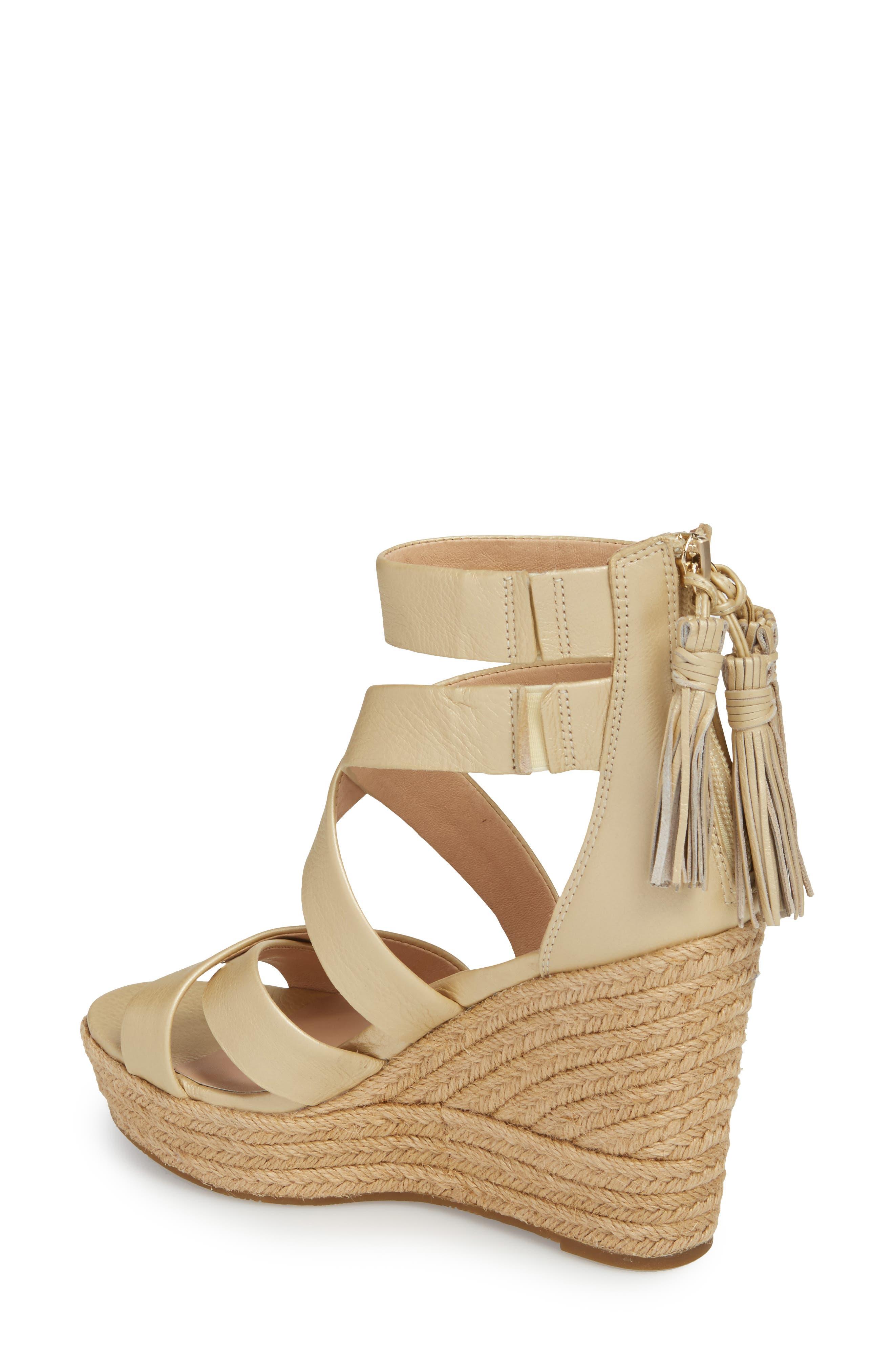 Raquel Platform Wedge Sandal,                             Alternate thumbnail 2, color,                             Soft Gold Leather