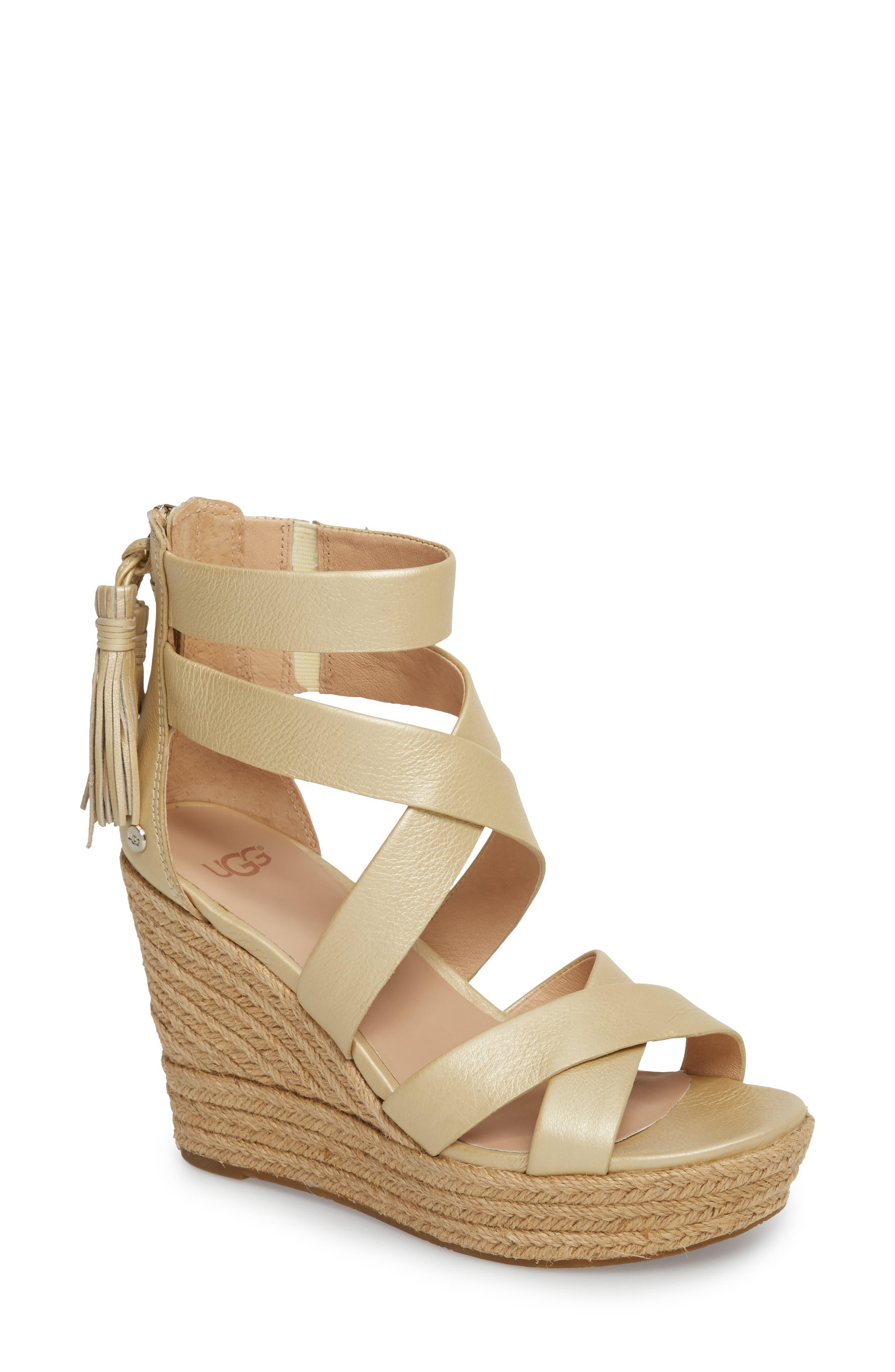 Raquel Platform Wedge Sandal,                             Main thumbnail 1, color,                             Soft Gold Leather