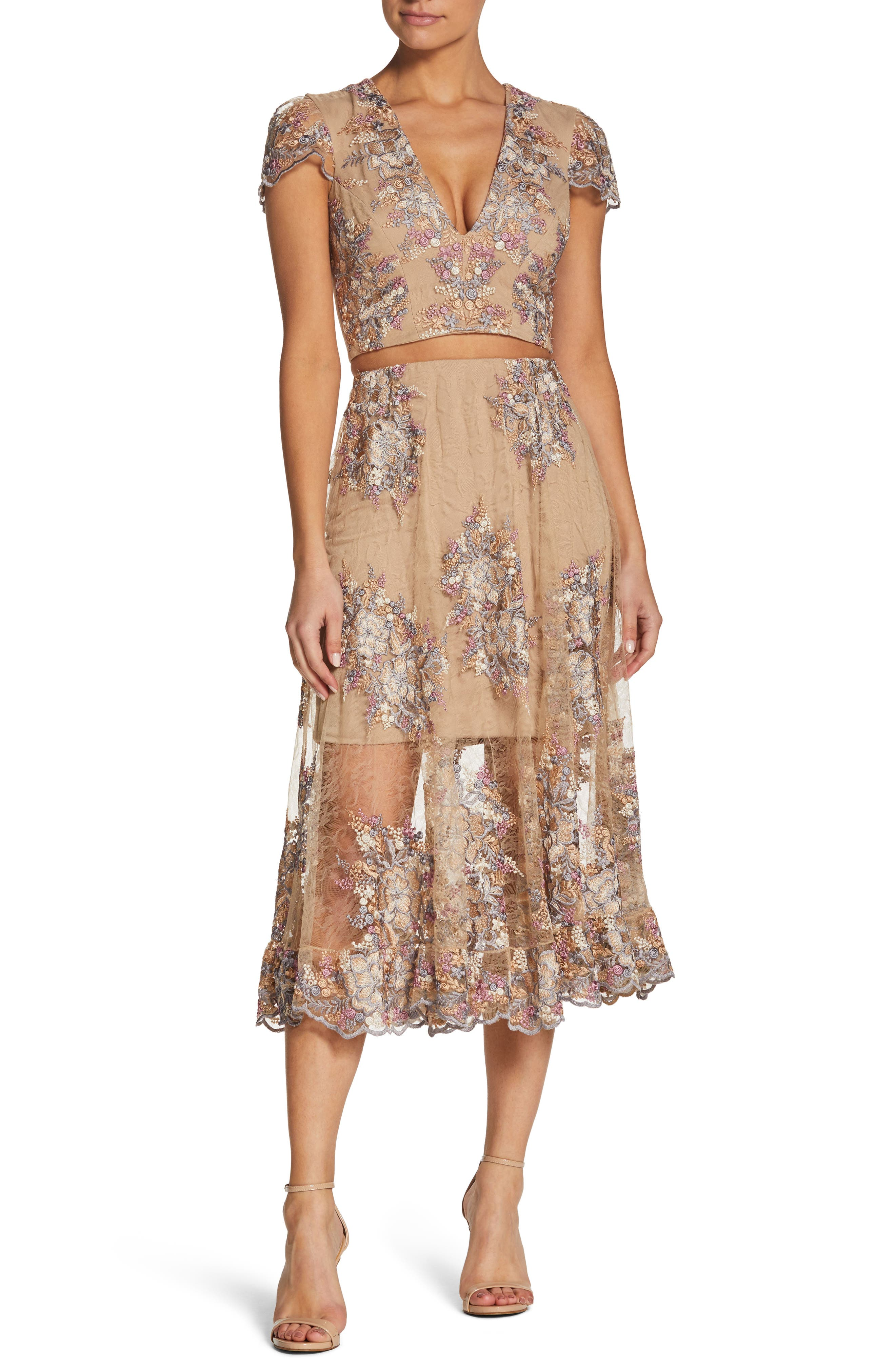 Juliana Two-Piece Dress,                         Main,                         color, Nude/ Floral