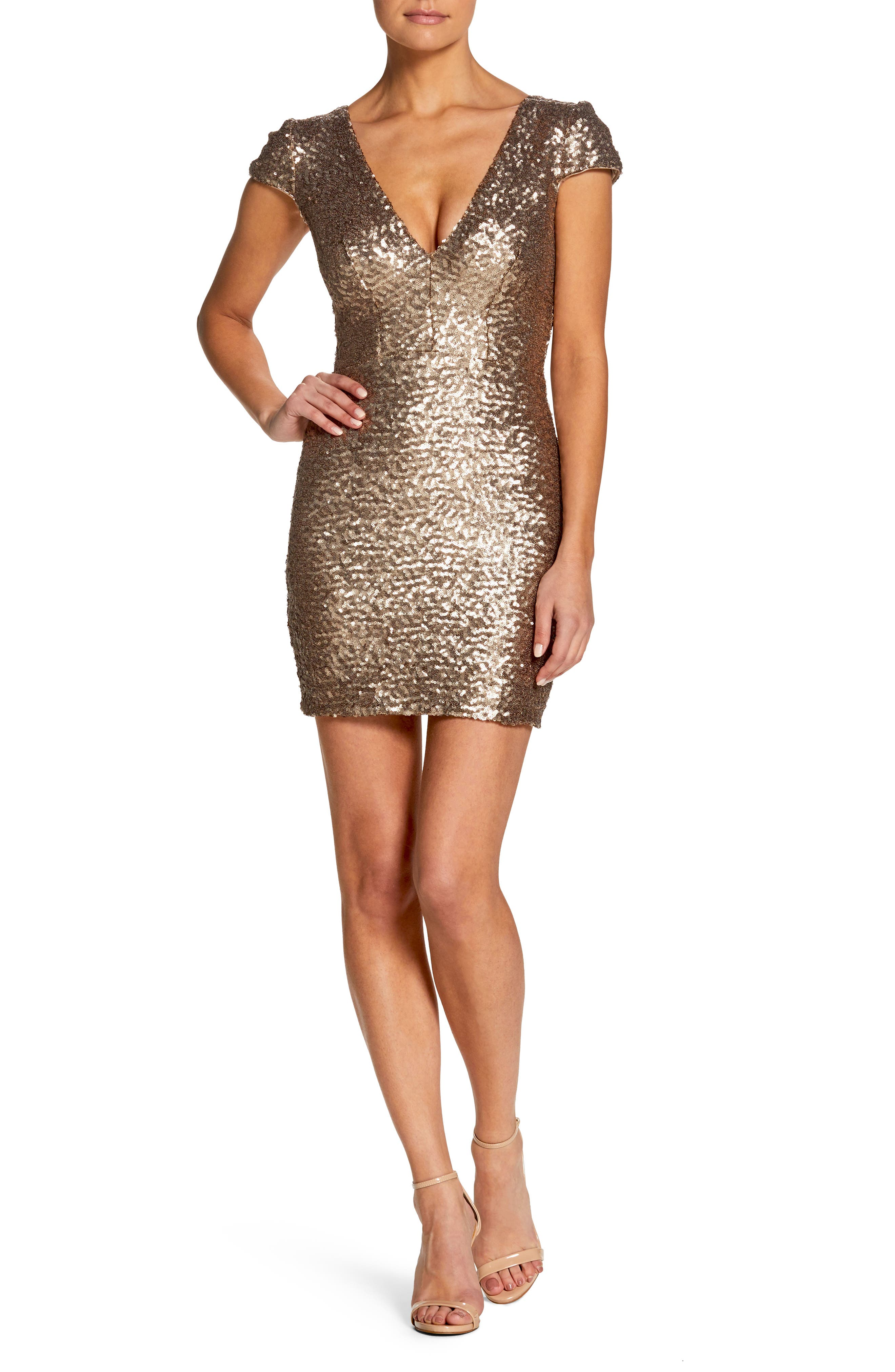 Zoe Sequin Minidress,                         Main,                         color, Brass
