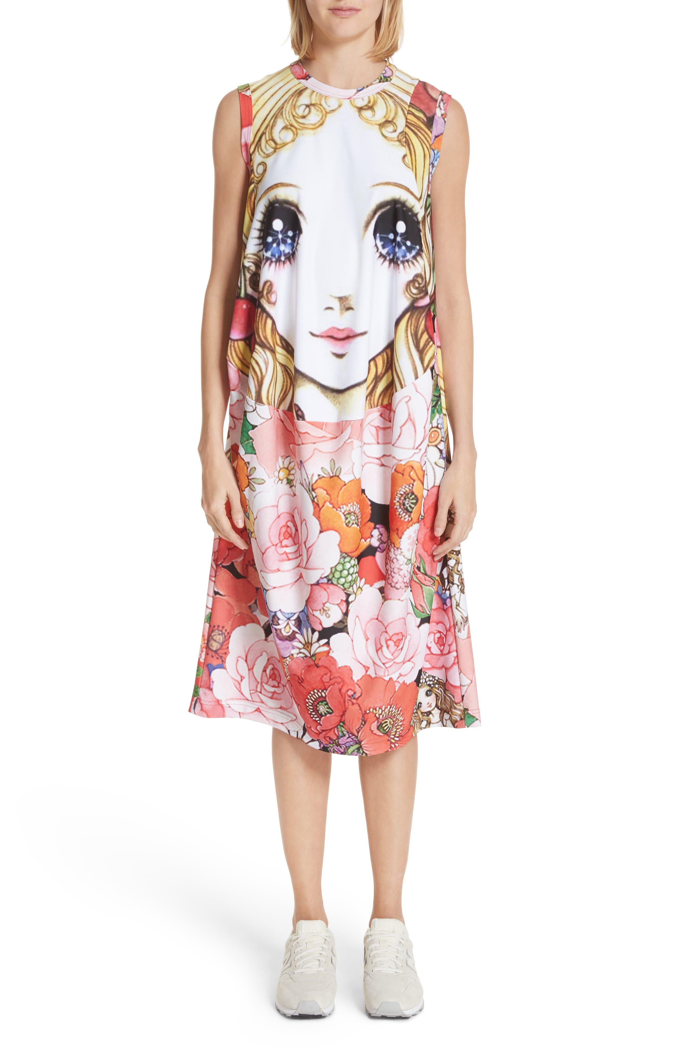 Manga Print Sleeveless Dress,                         Main,                         color, J Pattern