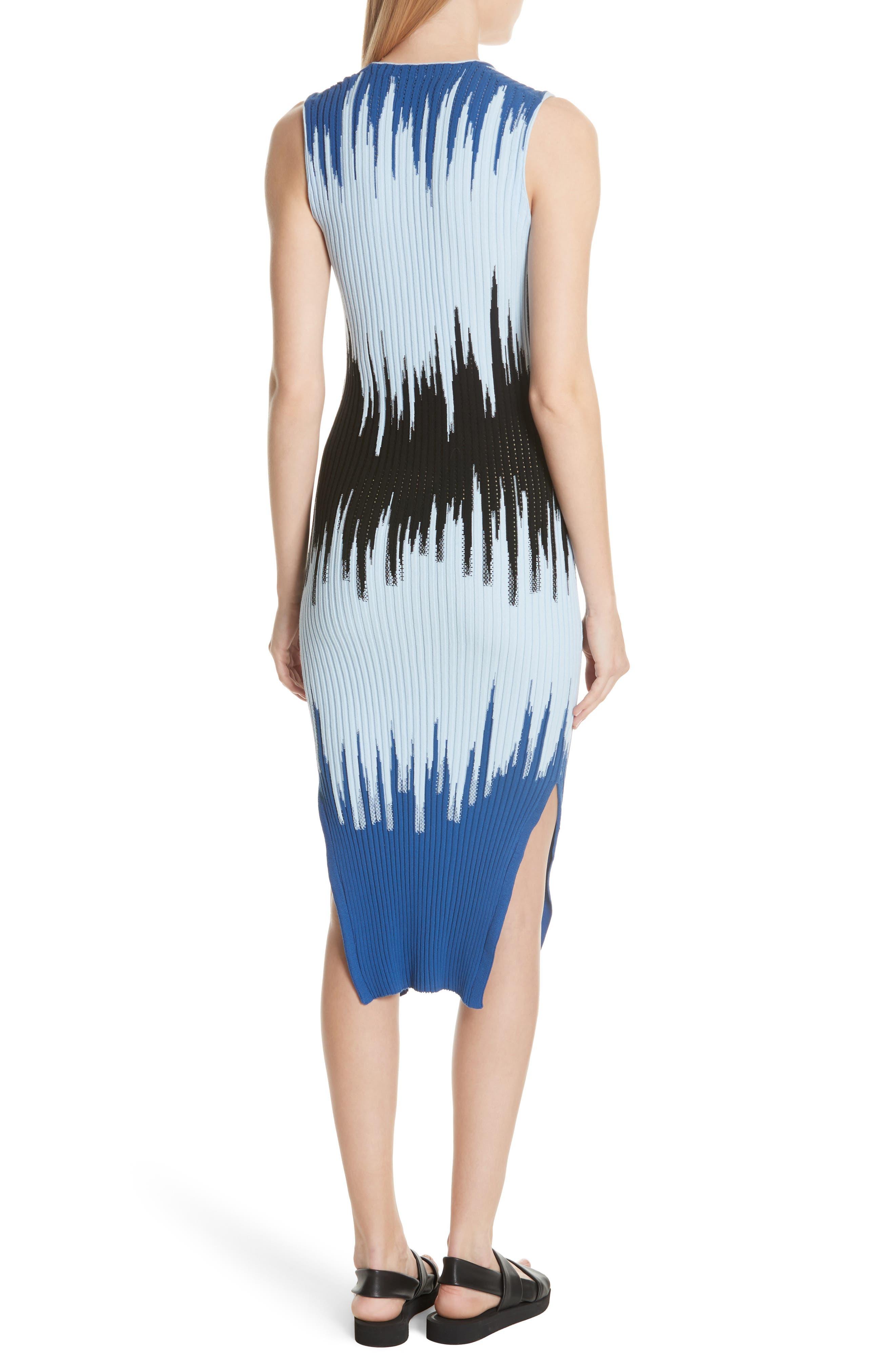 Intarsia Ribbed Body-Con Dress,                             Alternate thumbnail 2, color,                             Blue Multi