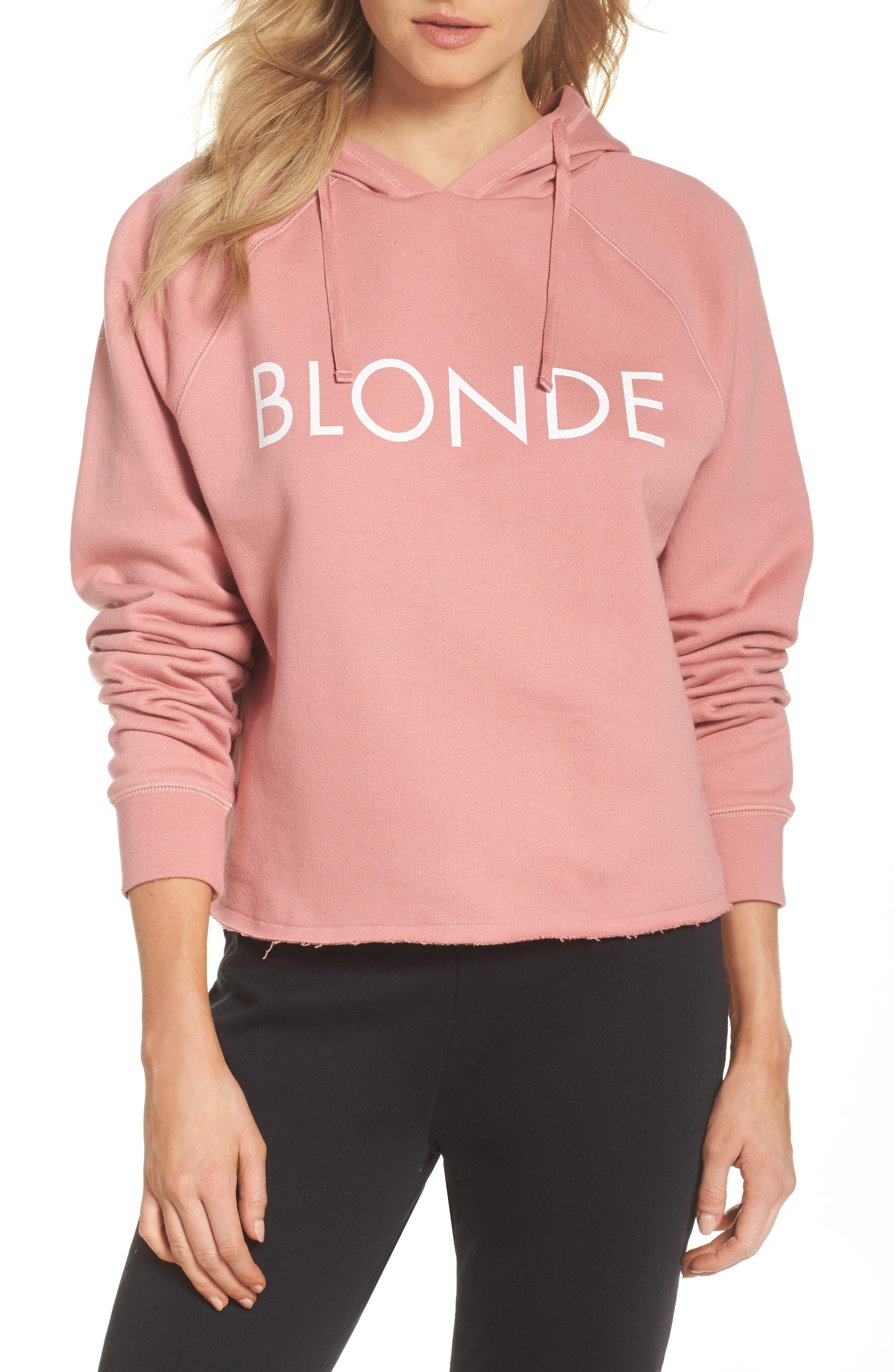 Blondie Raw Hem Hoodie,                         Main,                         color, Dusty Rose