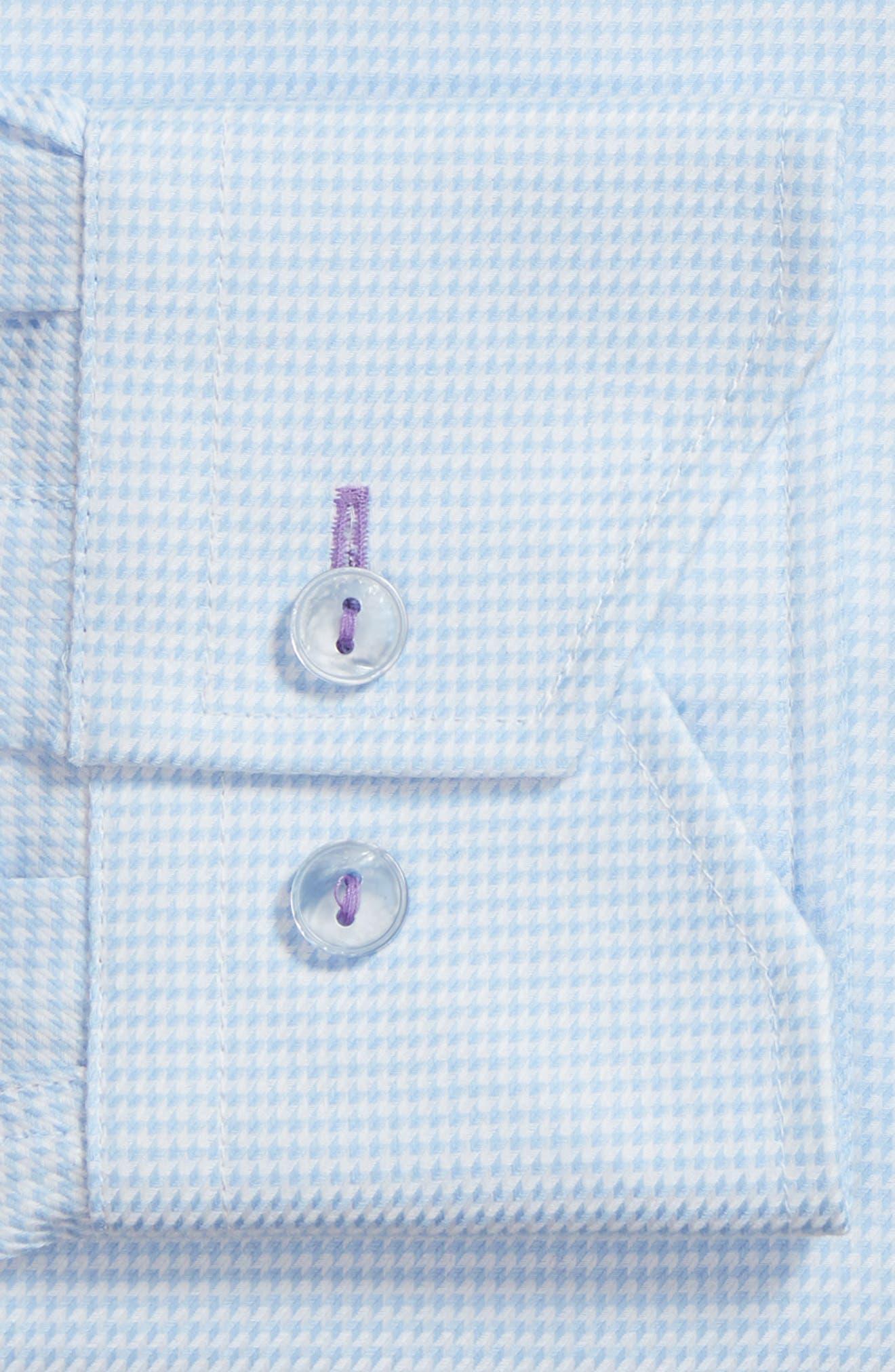Trim Fit Houndstooth Dress Shirt,                             Alternate thumbnail 5, color,                             Light Blue