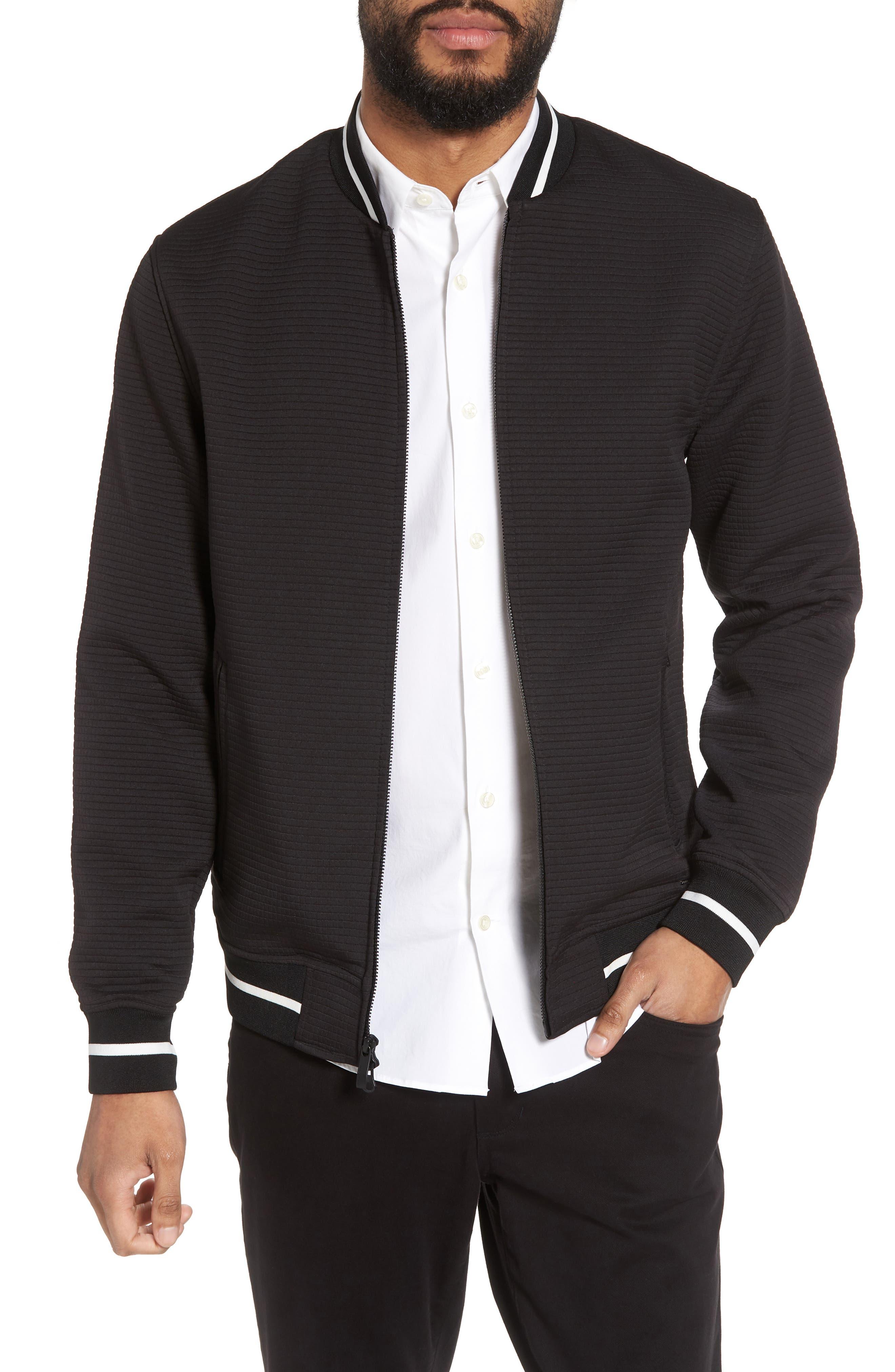 Slim Fit Bomber Jacket,                             Main thumbnail 1, color,                             Black Solid