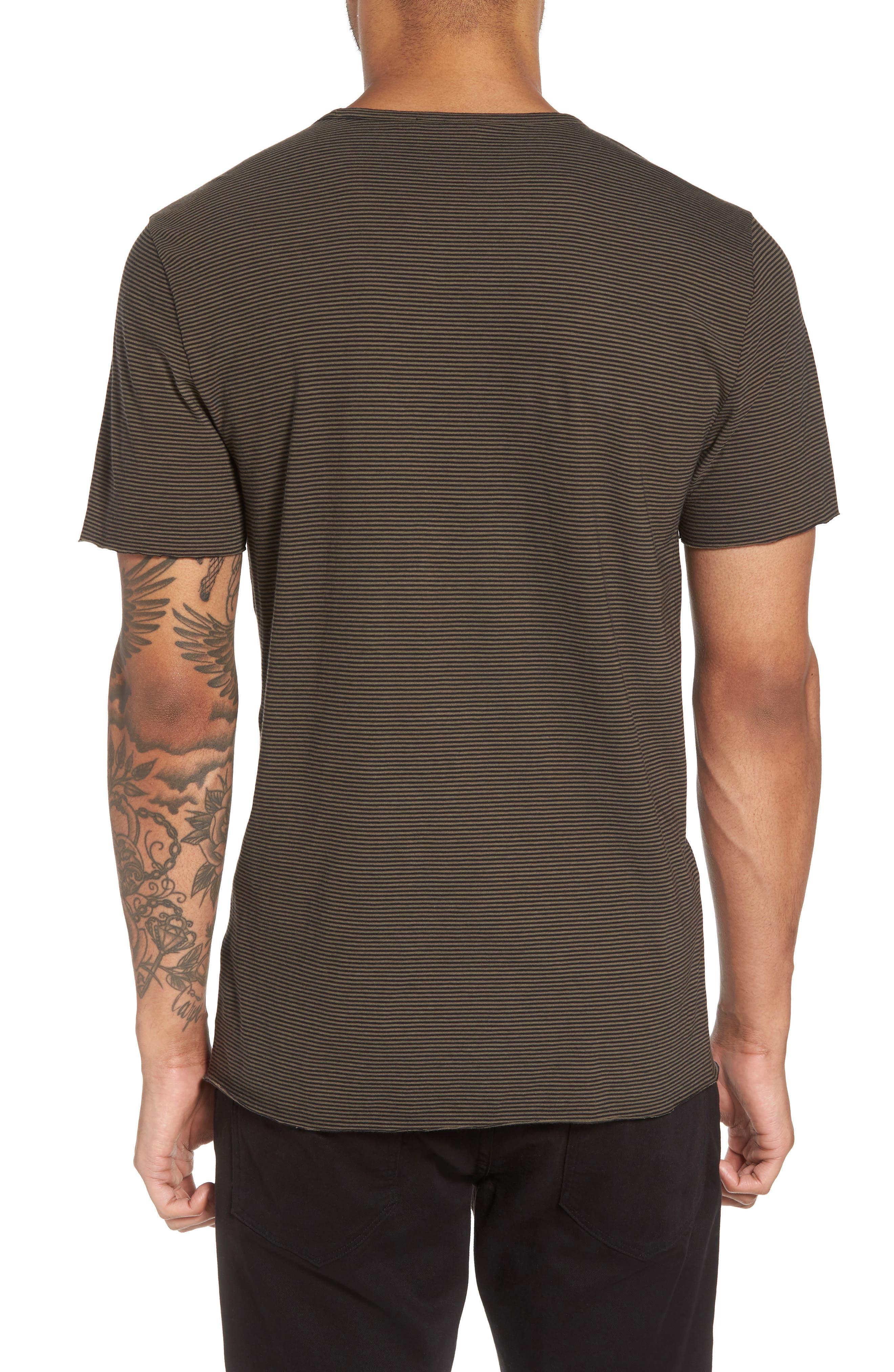 Slim Fit Stripe Pocket T-Shirt,                             Alternate thumbnail 2, color,                             Black/ Camp Green