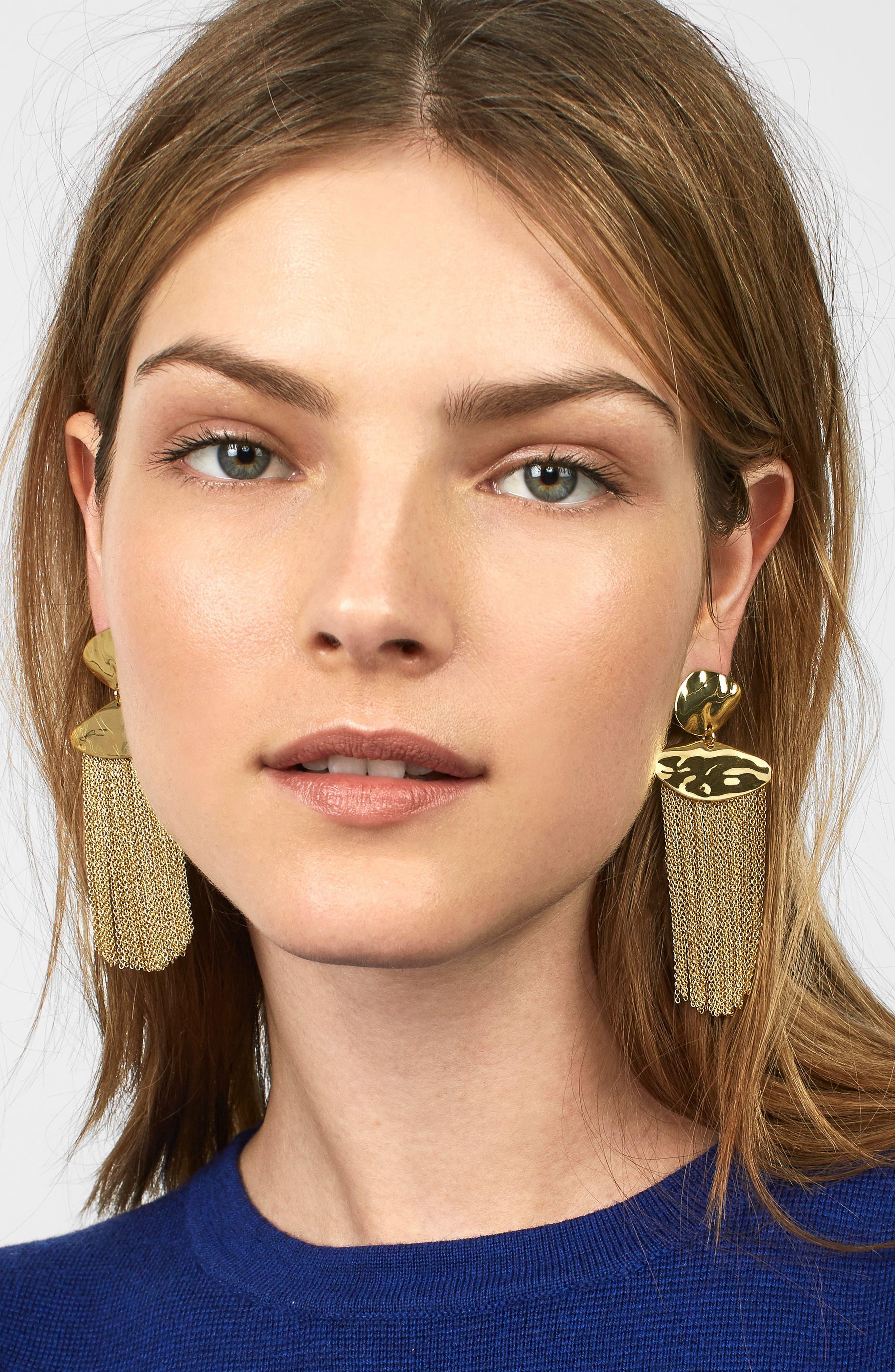 Azmera Chain Fringe Earrings,                             Alternate thumbnail 2, color,                             Gold