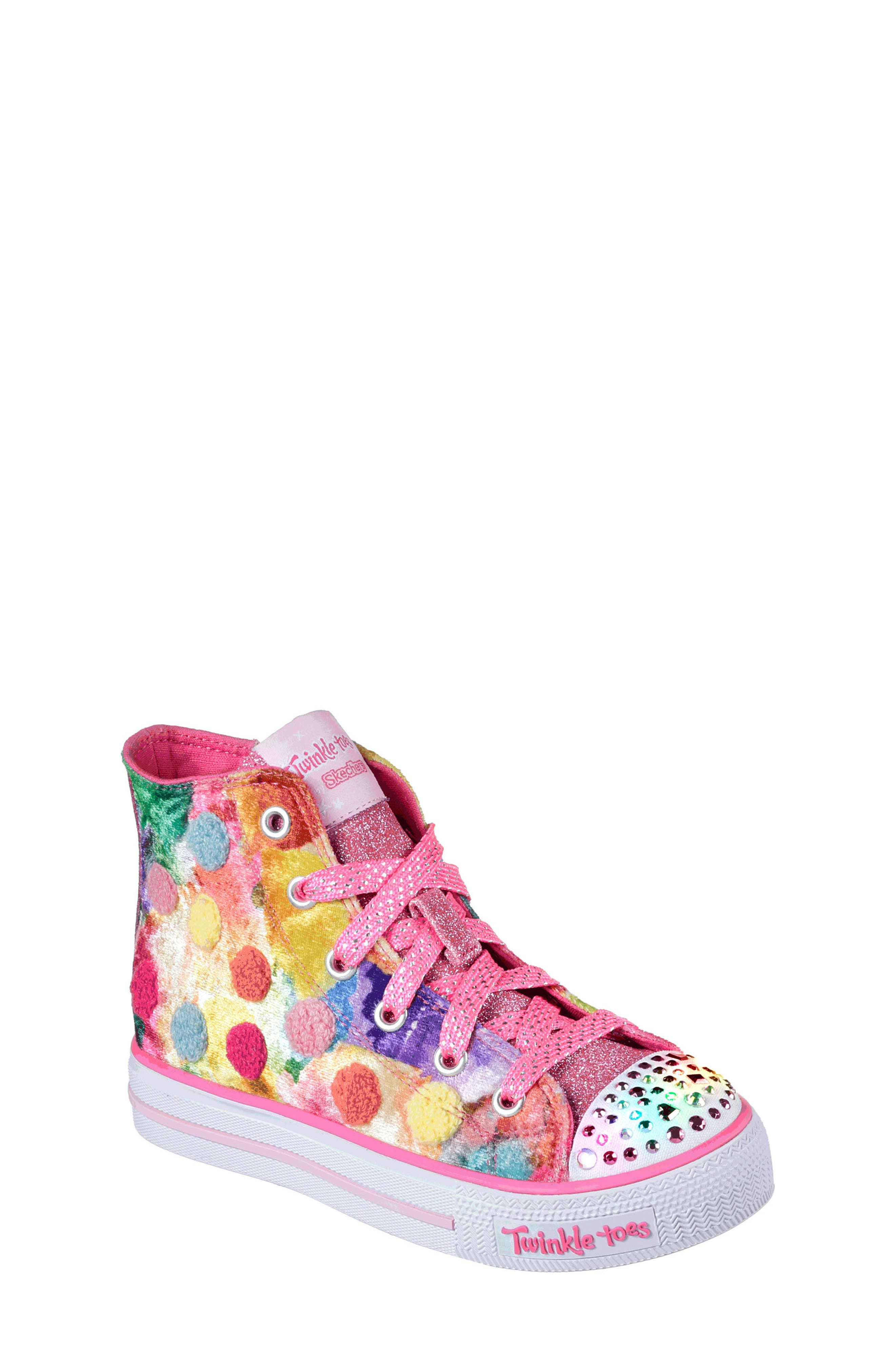 Twinkle Toes Shuffles Light-Up High Top Sneaker,                         Main,                         color, Hot Pink/ Multi