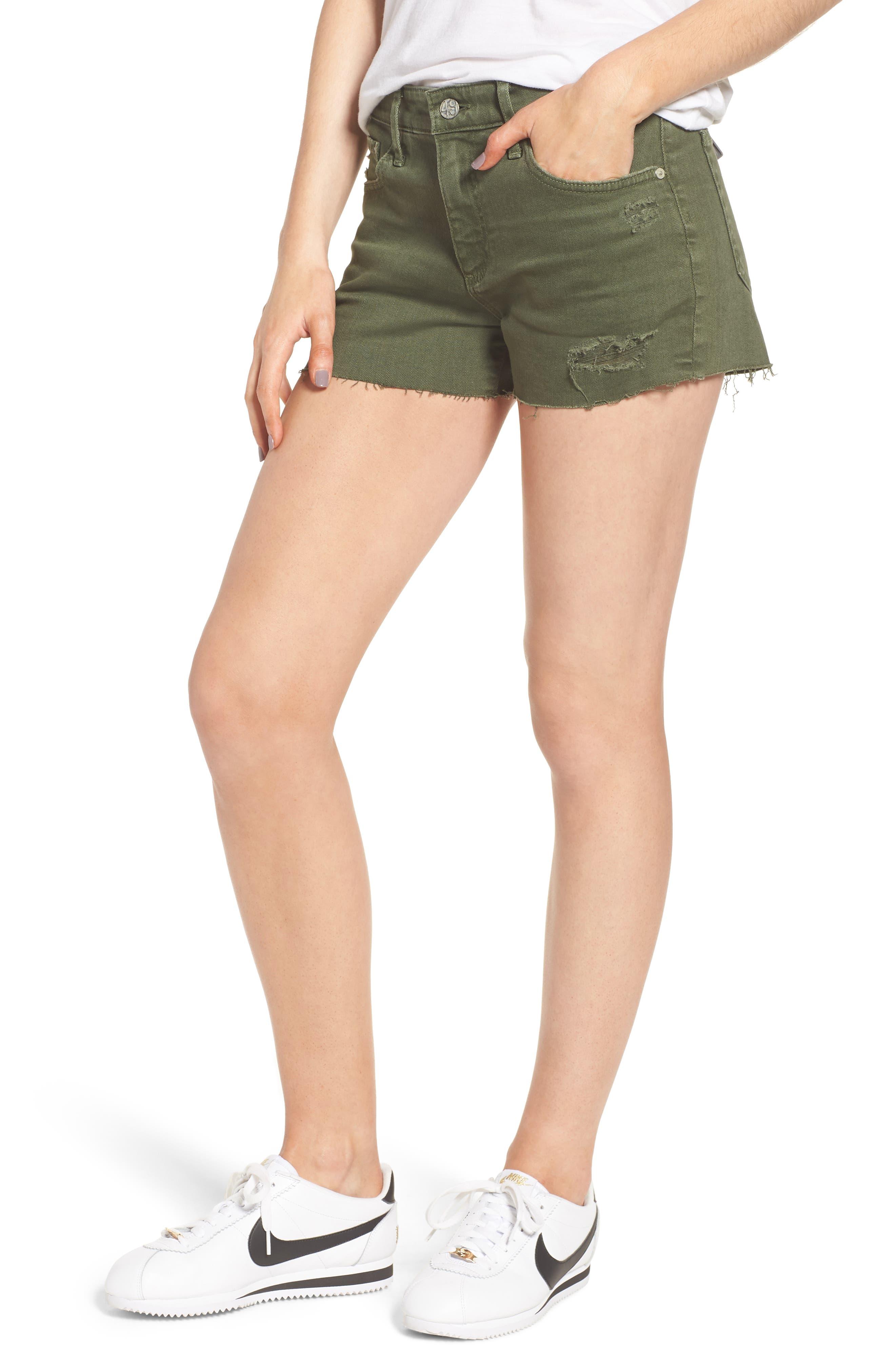 The Bryn High Waist Cutoff Denim Shorts,                         Main,                         color, 10 Years Remedy Desert Pine