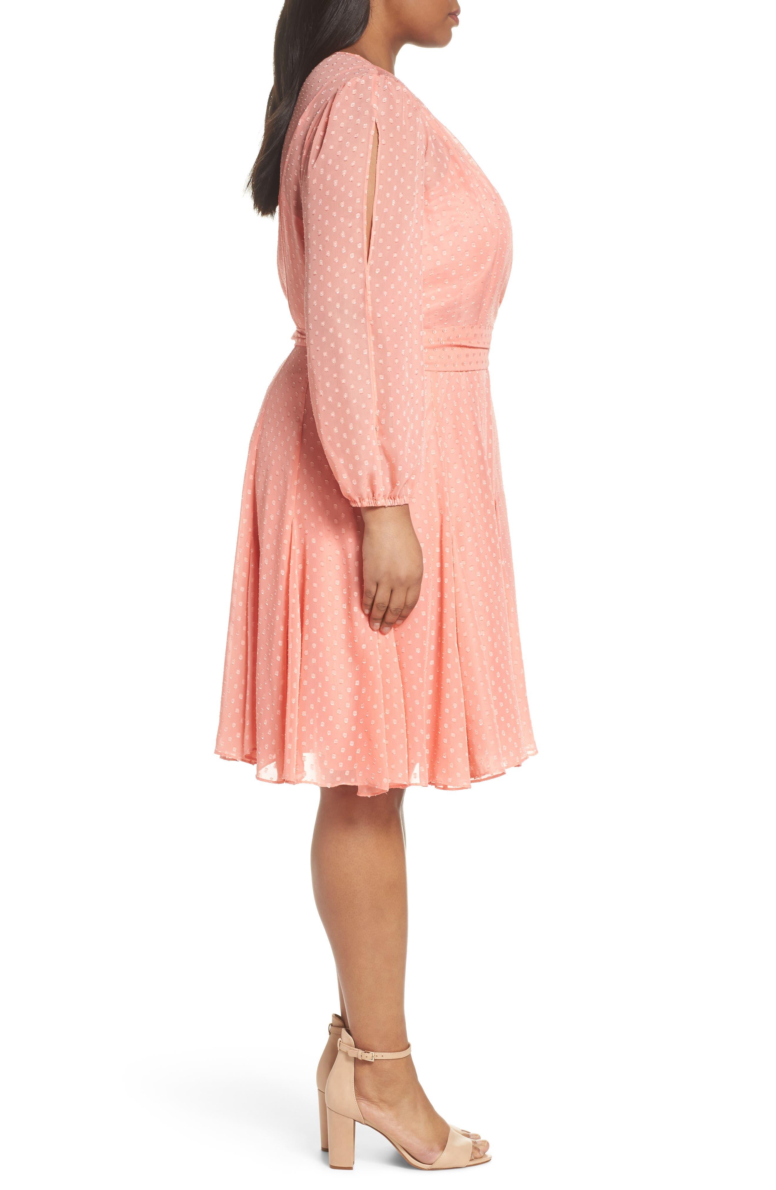 Split Sleeve Swiss Dot Chiffon Faux Wrap Dress,                             Alternate thumbnail 4, color,                             Soft Coral