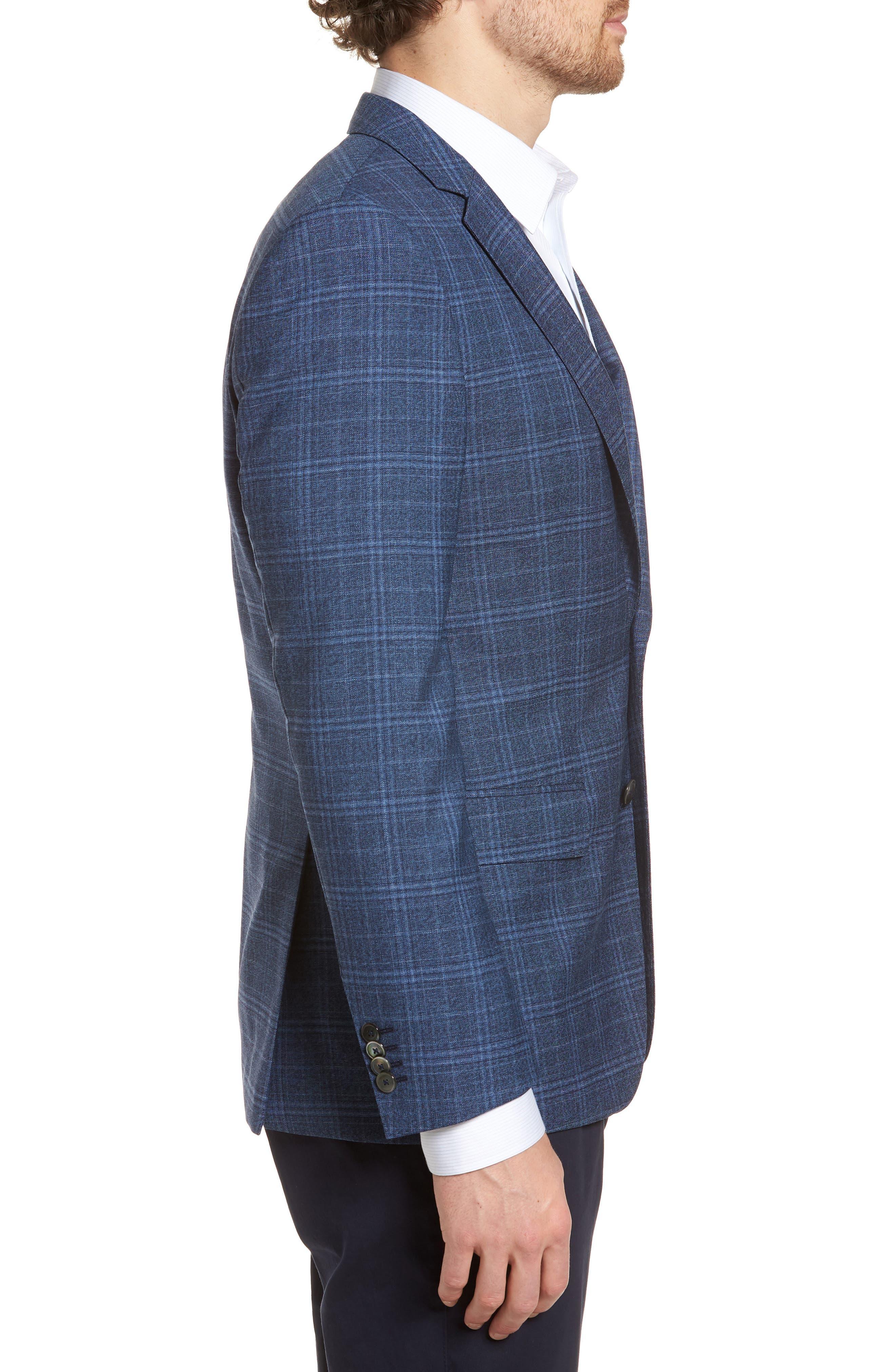 Hutsons Trim Fit Plaid Wool Sport Coat,                             Alternate thumbnail 3, color,                             Medium Blue/ Navy