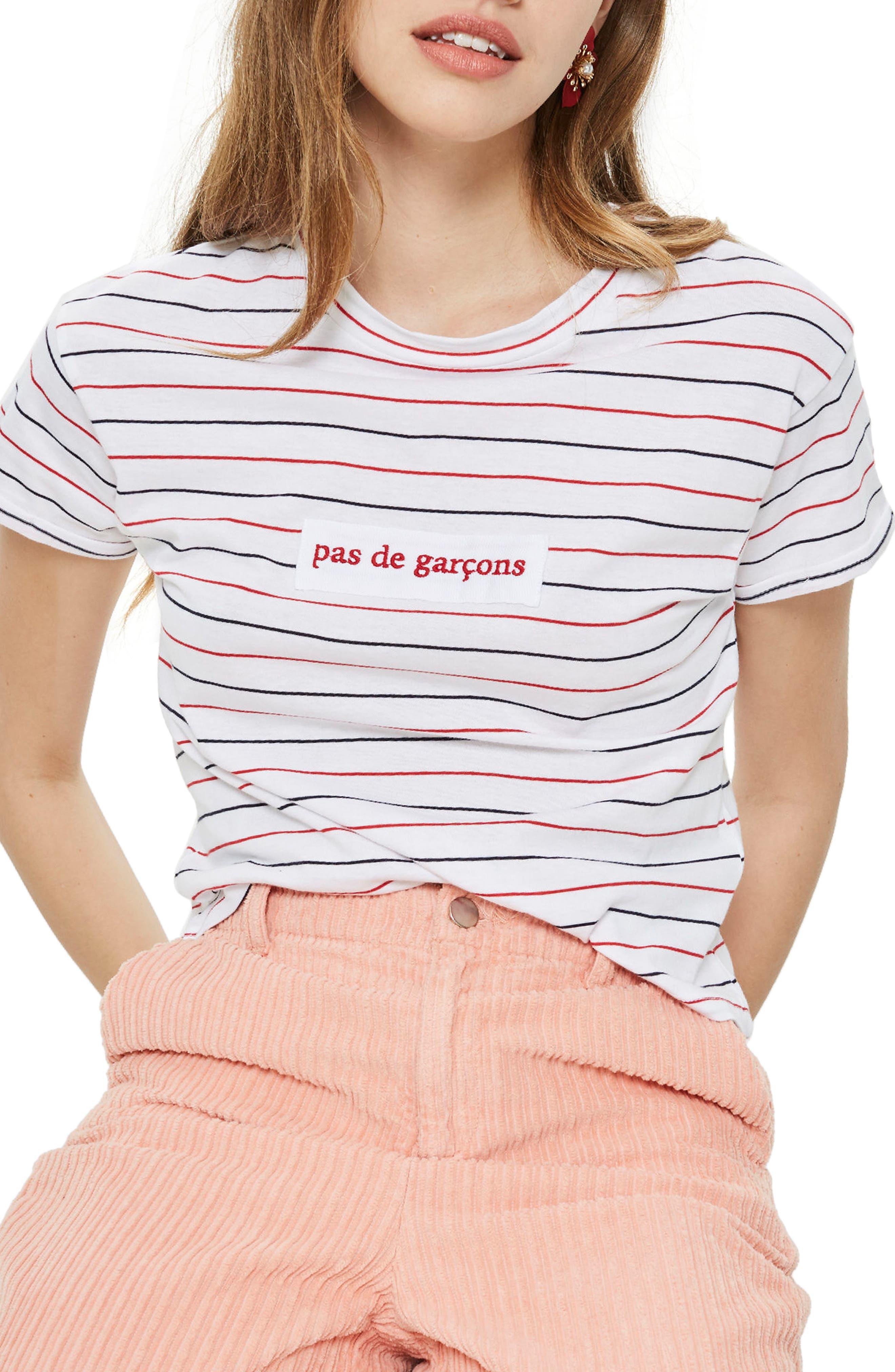 Pas De Garcons Stripe T-Shirt,                         Main,                         color, White