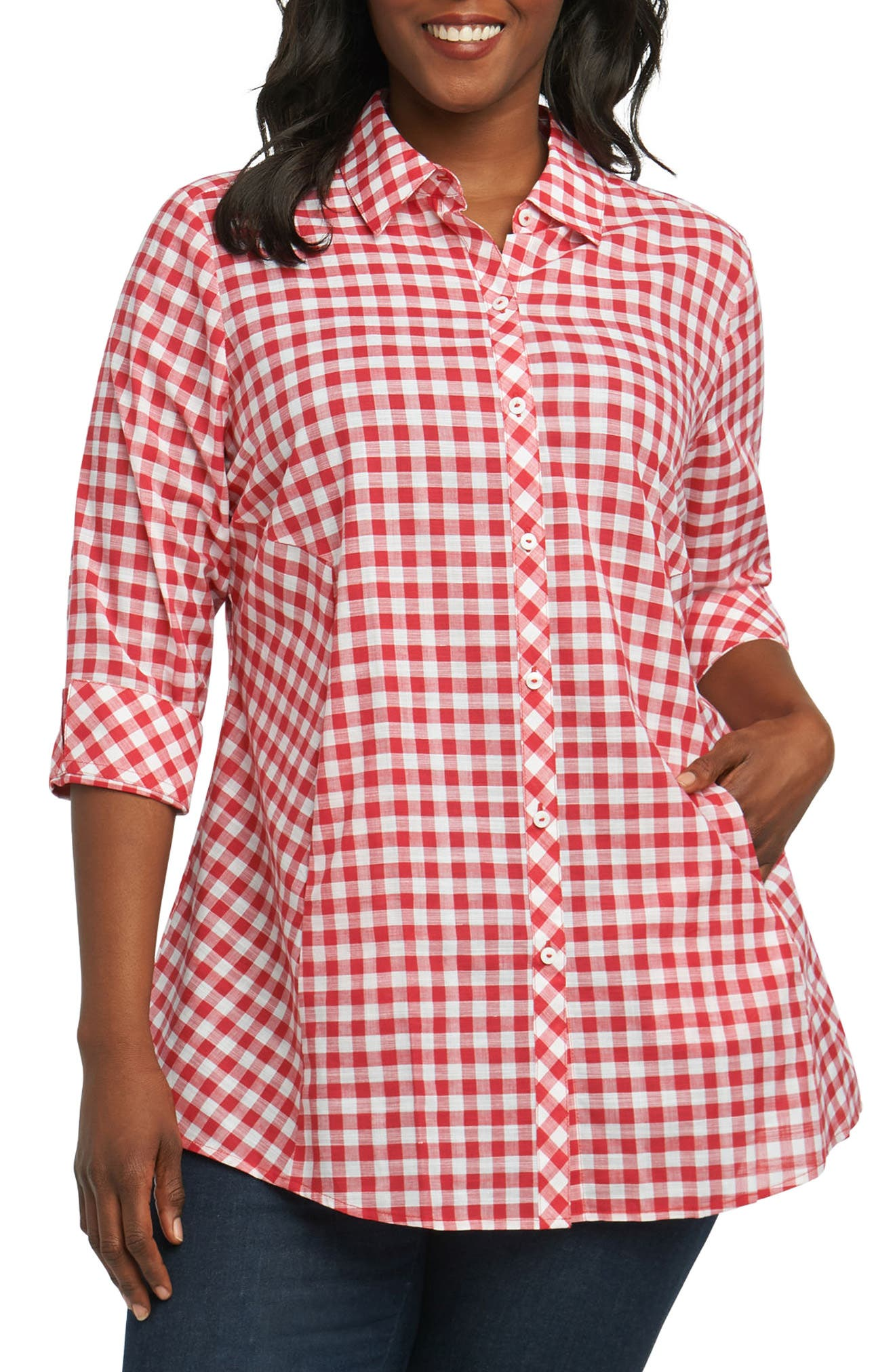 Foxcroft Cici Gingham Tunic Shirt (Plus Size)