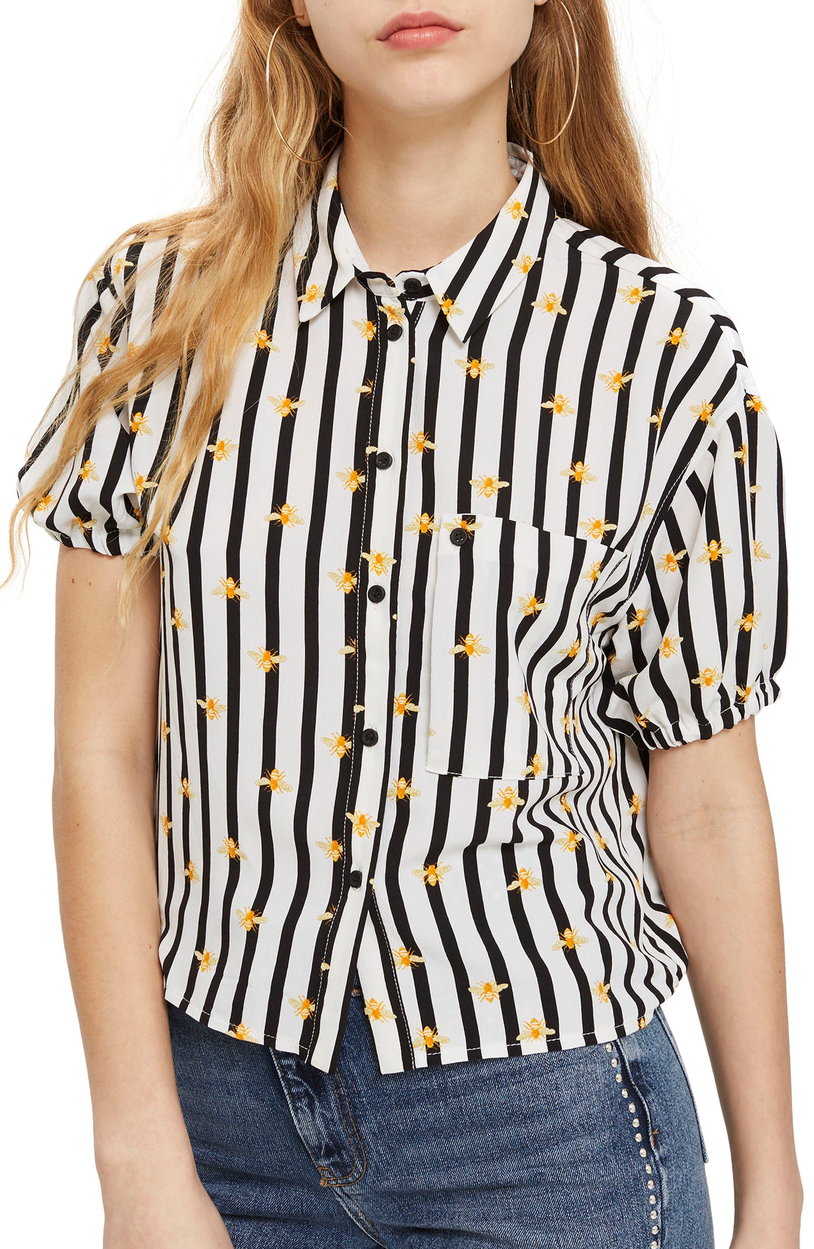 Alexa Bee Stripe Blouse,                             Main thumbnail 1, color,                             Black Multi