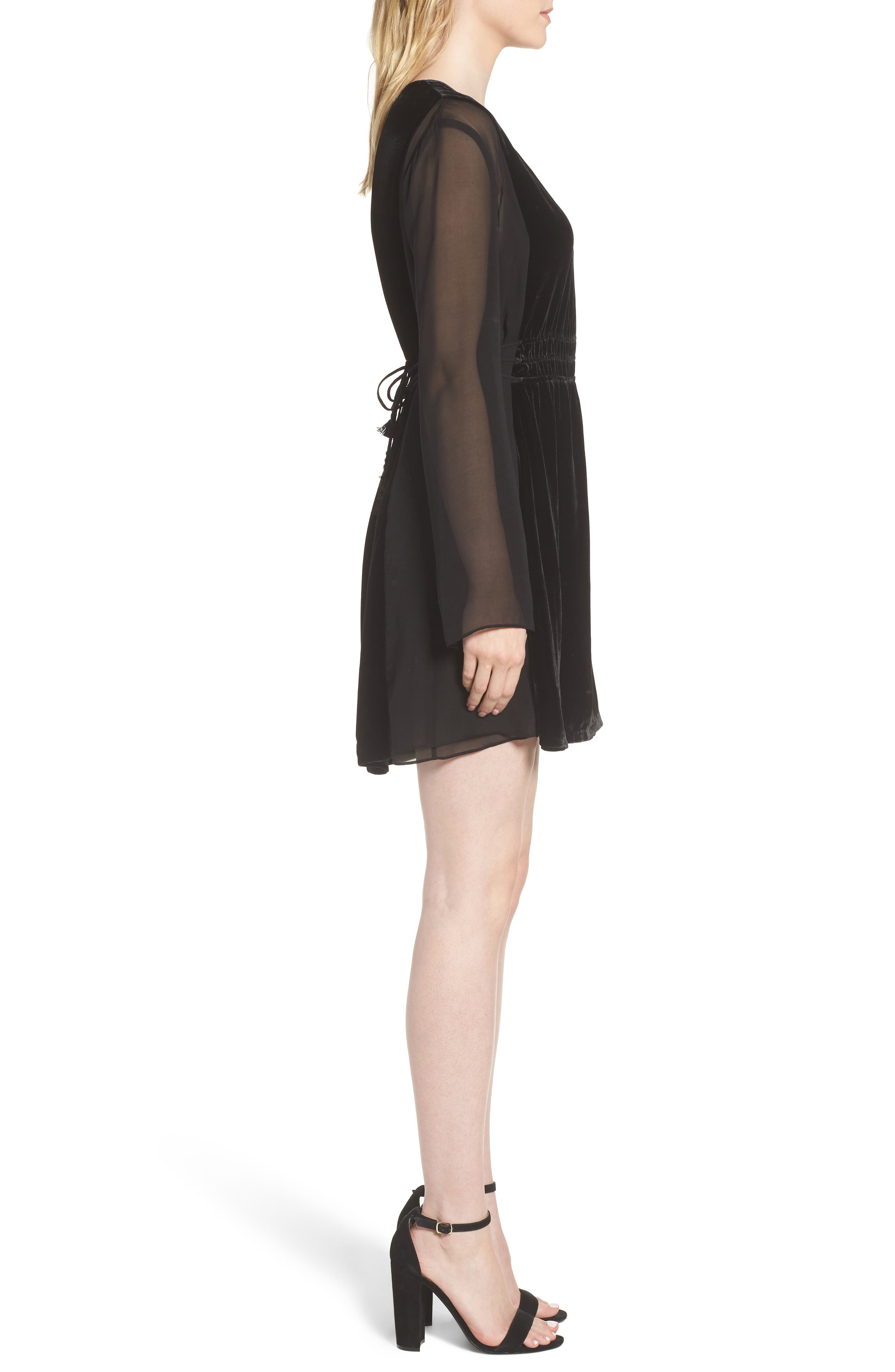 Her Story Velvet Dress,                             Alternate thumbnail 3, color,                             Black