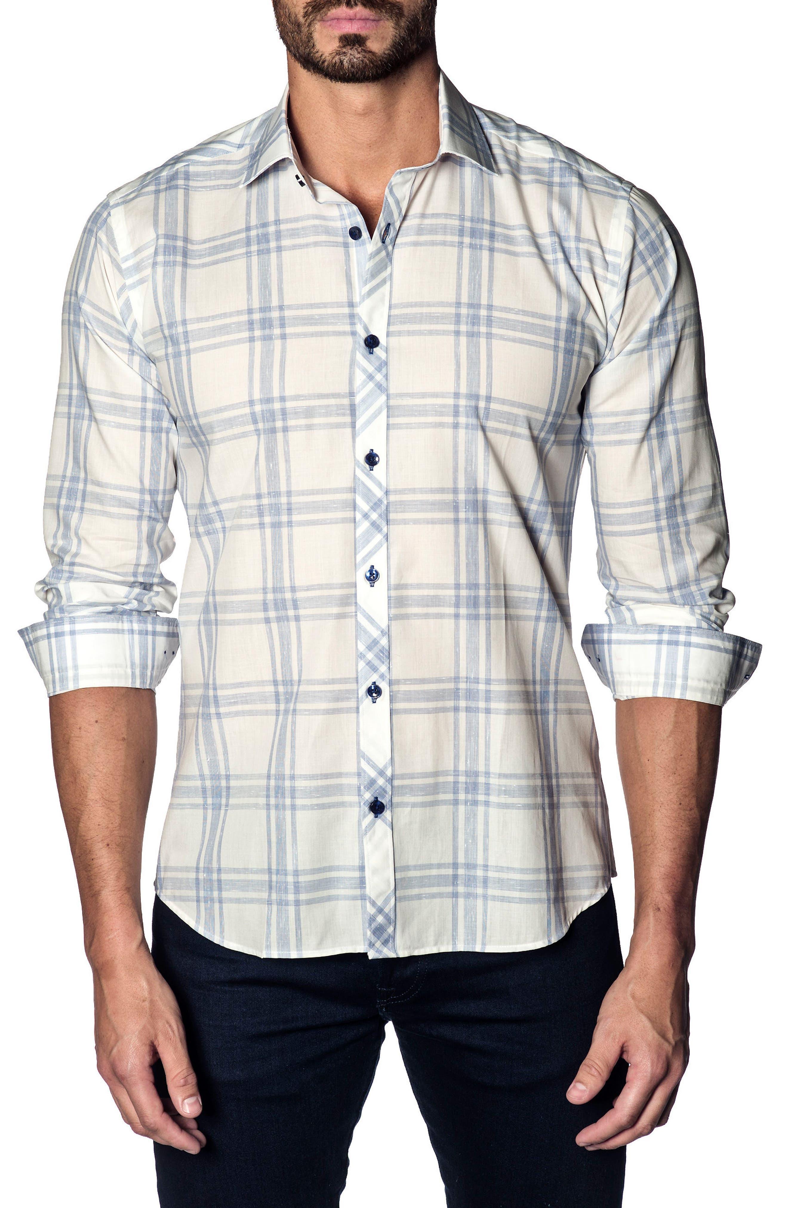 Trim Fit Plaid Sport Shirt,                         Main,                         color, White - Blue Red Stripe