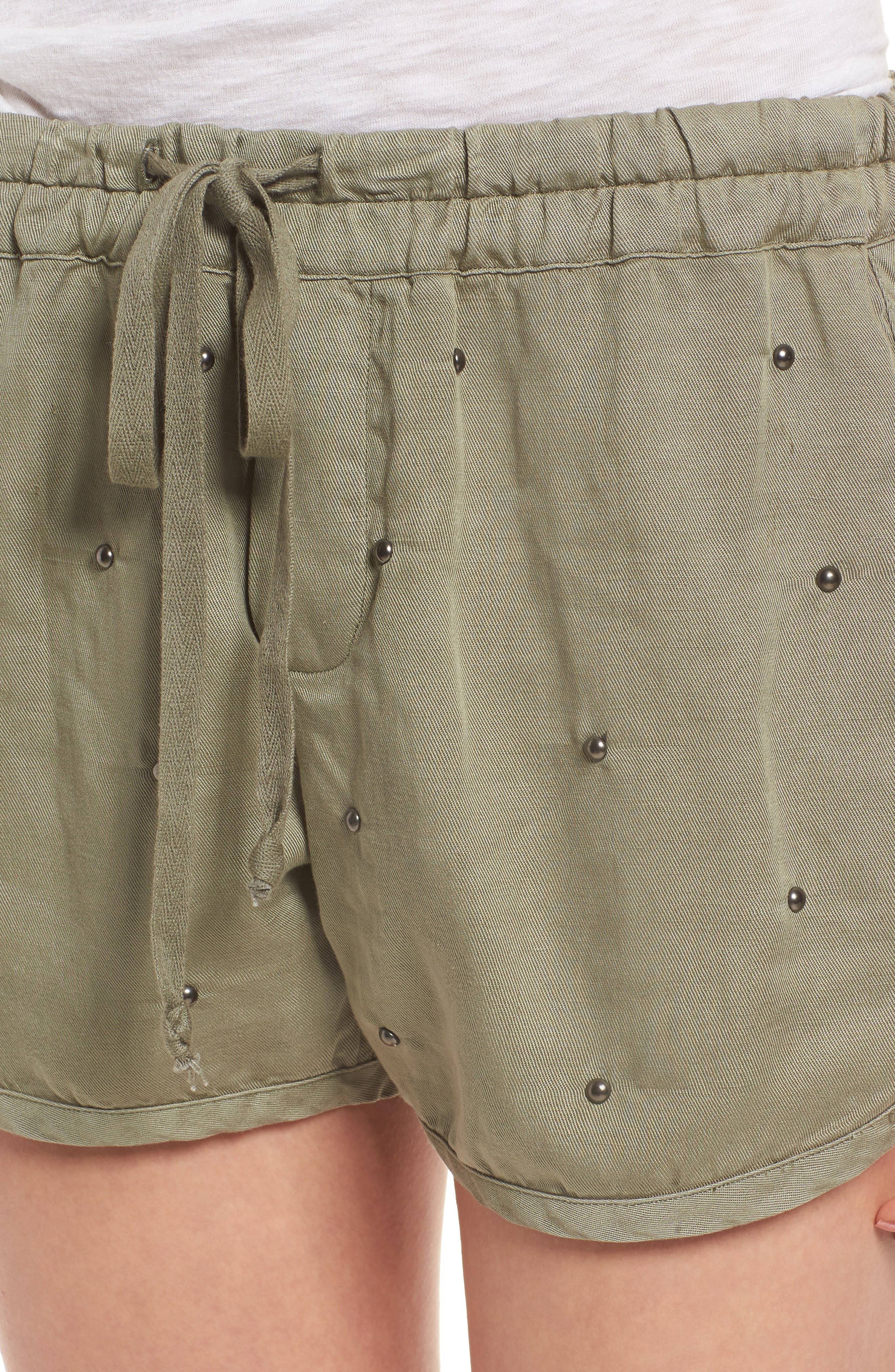 Thatcher Drawstring Shorts,                             Alternate thumbnail 4, color,                             Sage Studded