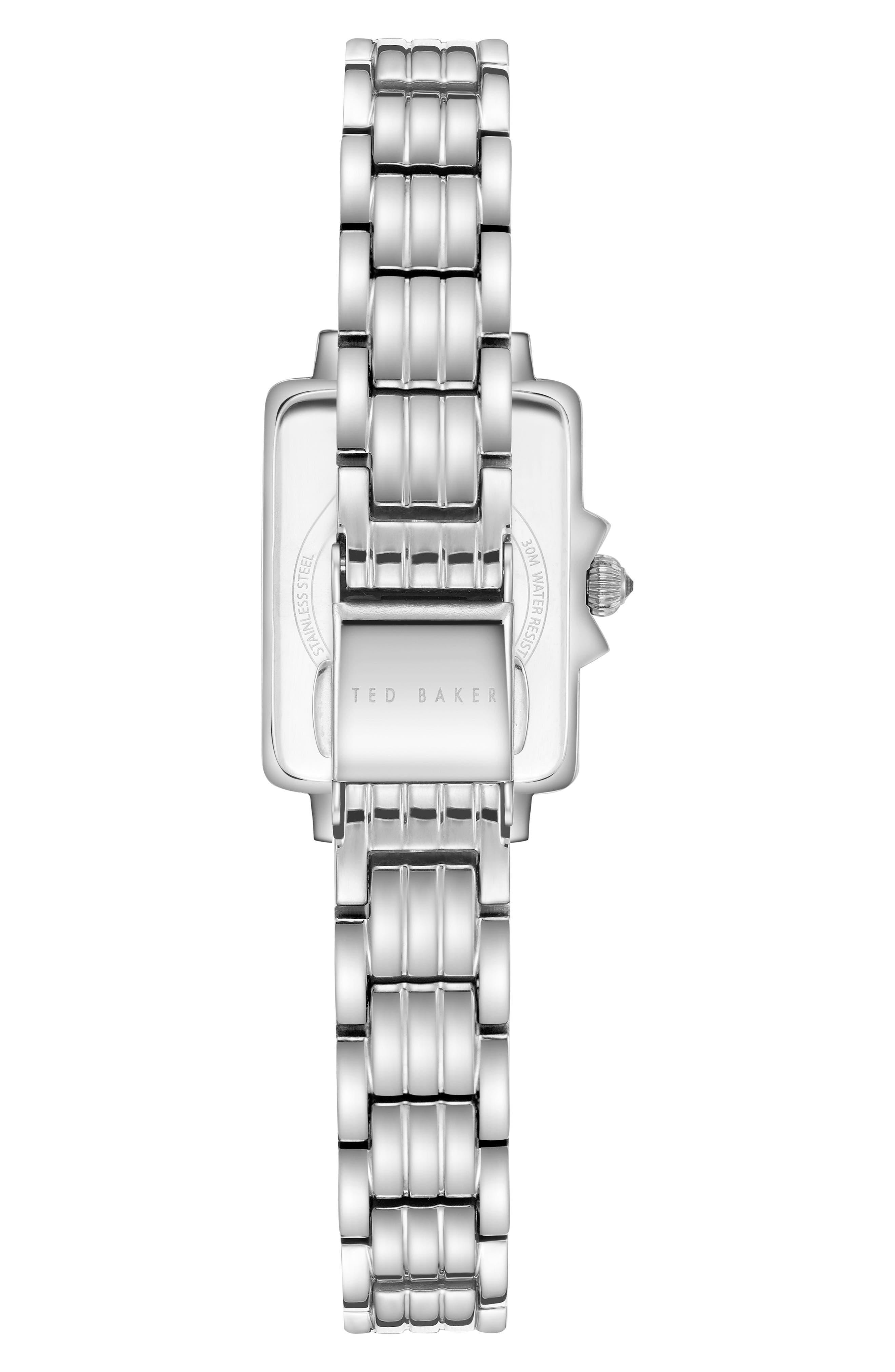 Tess Bracelet Watch, 20mm,                             Alternate thumbnail 3, color,                             Silver/ Black/ Silver