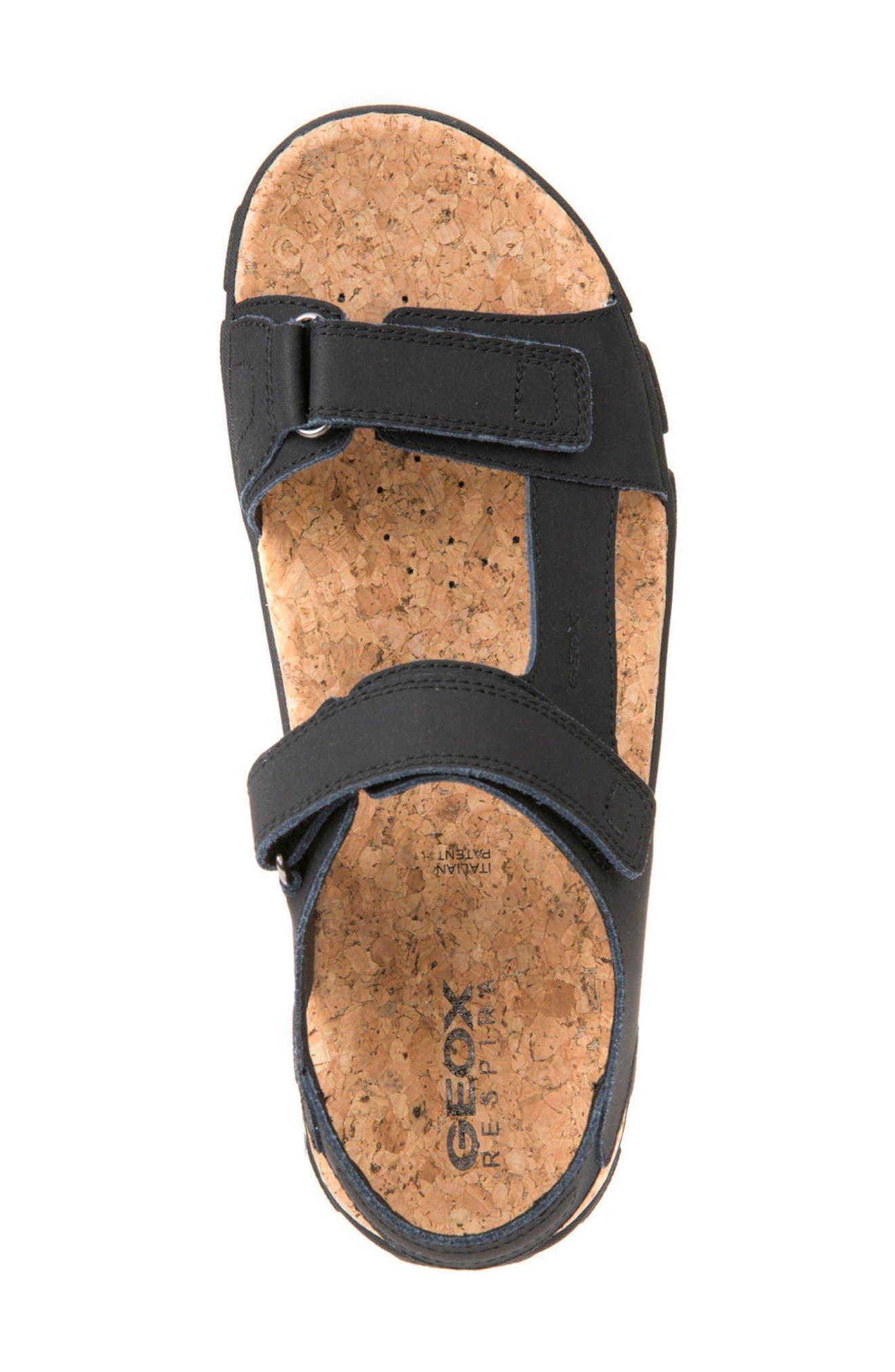 Strada 26 Sport Sandal,                             Alternate thumbnail 4, color,                             Black Leather