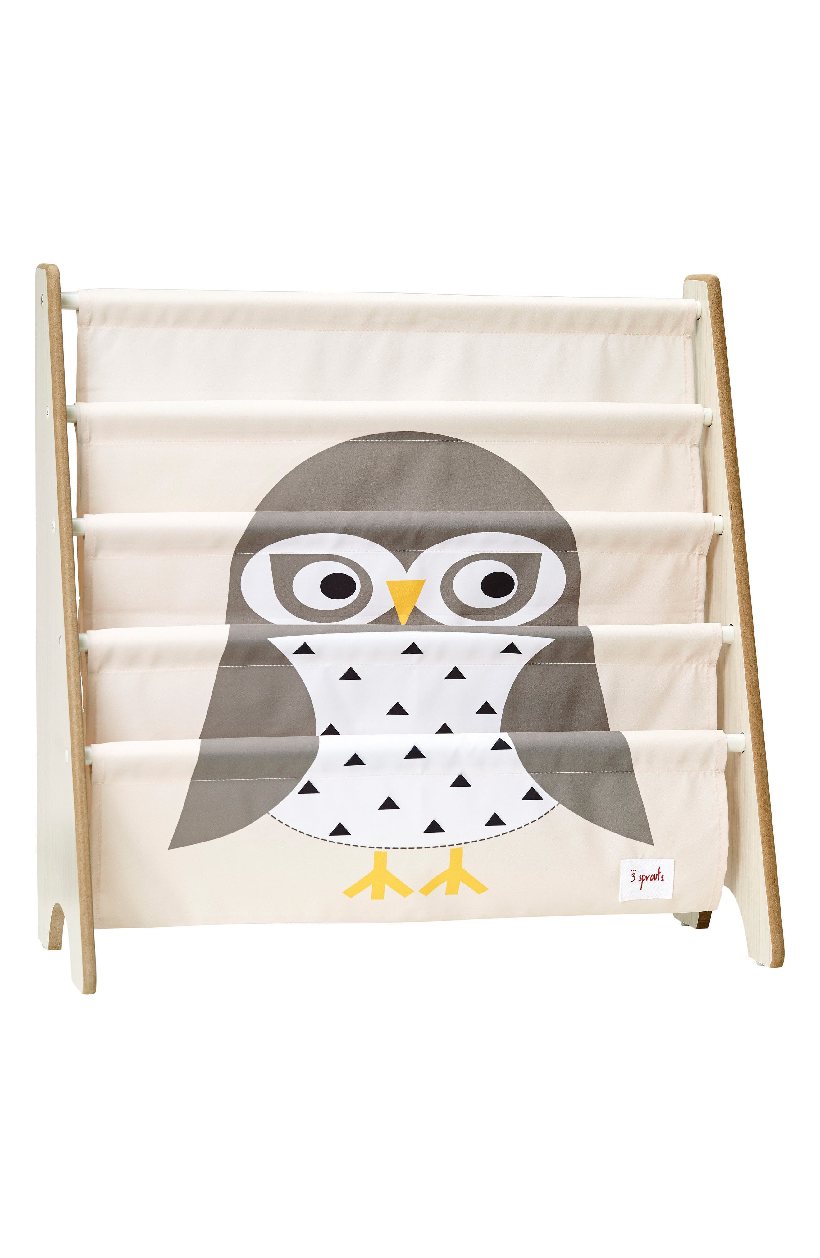 Owl Book Rack,                         Main,                         color, Gray