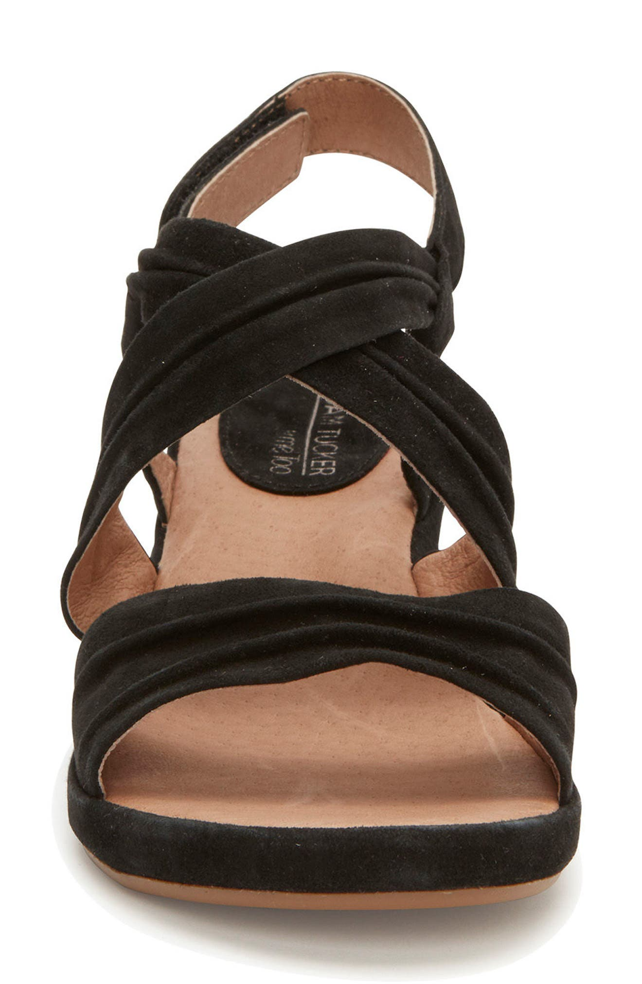 Adam Tucker Yvette Sandal,                             Alternate thumbnail 4, color,                             Black Suede