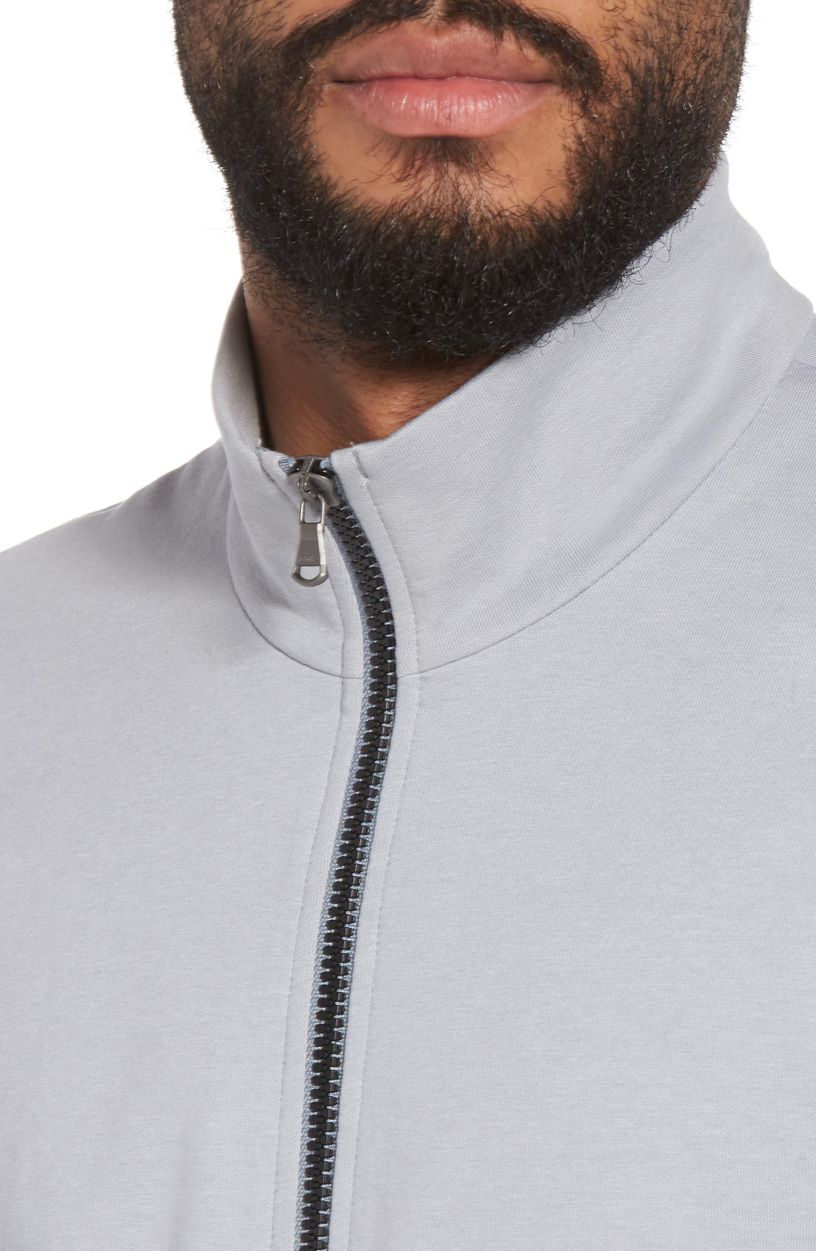 Slim Fit Compact Terry Zip Jacket,                             Alternate thumbnail 4, color,                             Grey Sky/ Light Grey