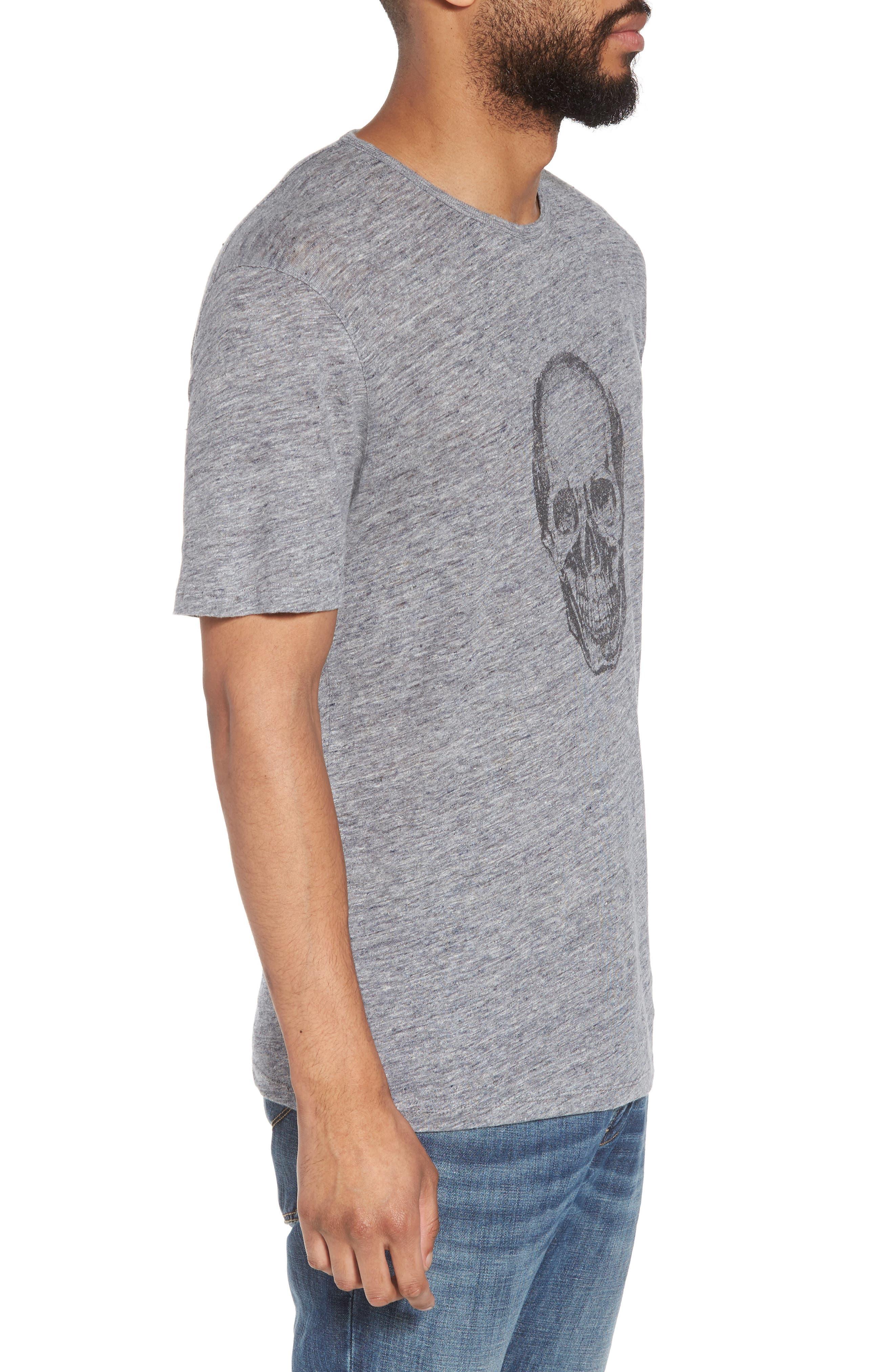 John Varvatos Crewneck Linen T-Shirt,                             Alternate thumbnail 3, color,                             Med Grey