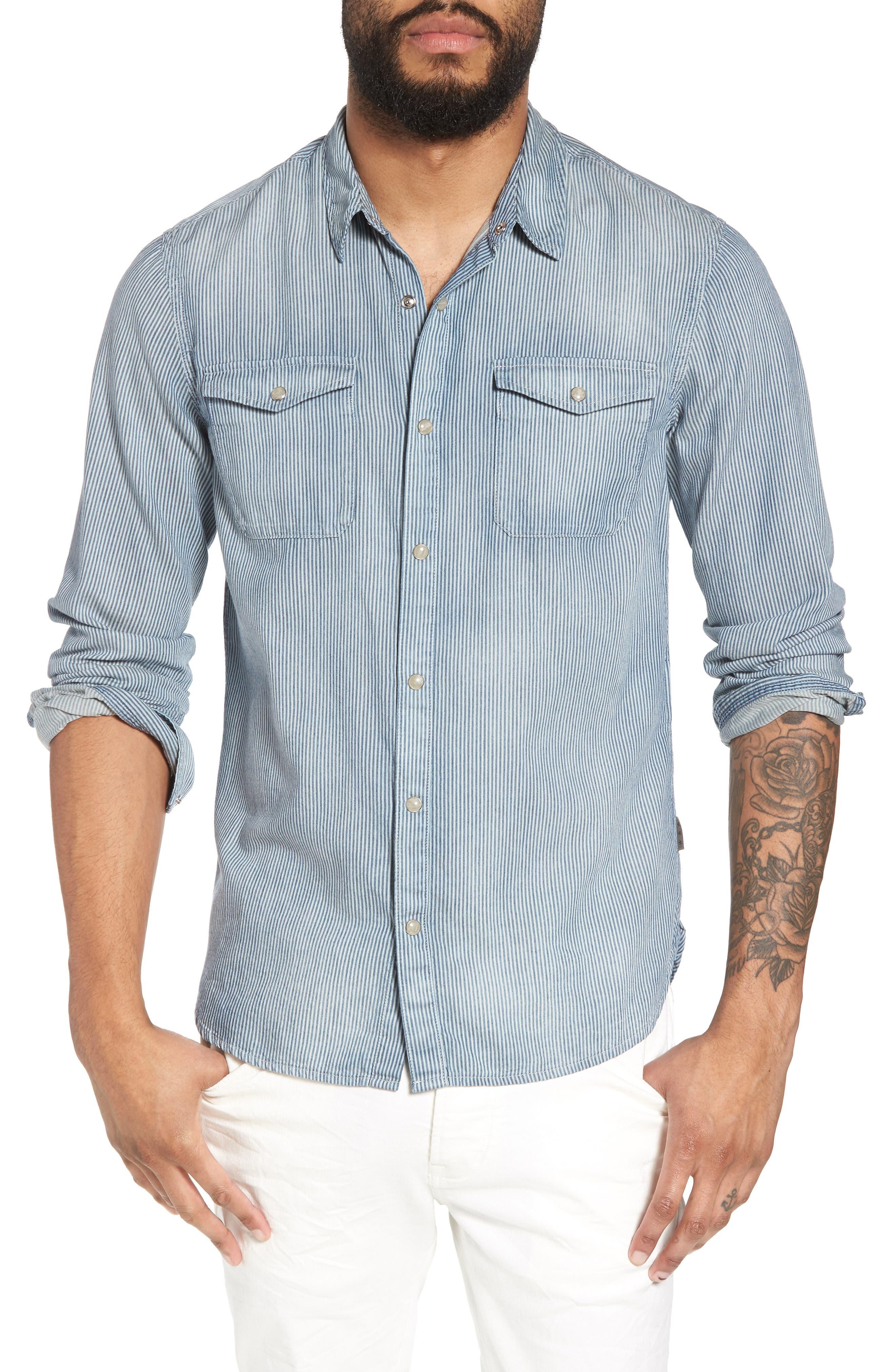 Stripe Extra Slim Fit Cotton Western Shirt,                         Main,                         color, Pond Blue