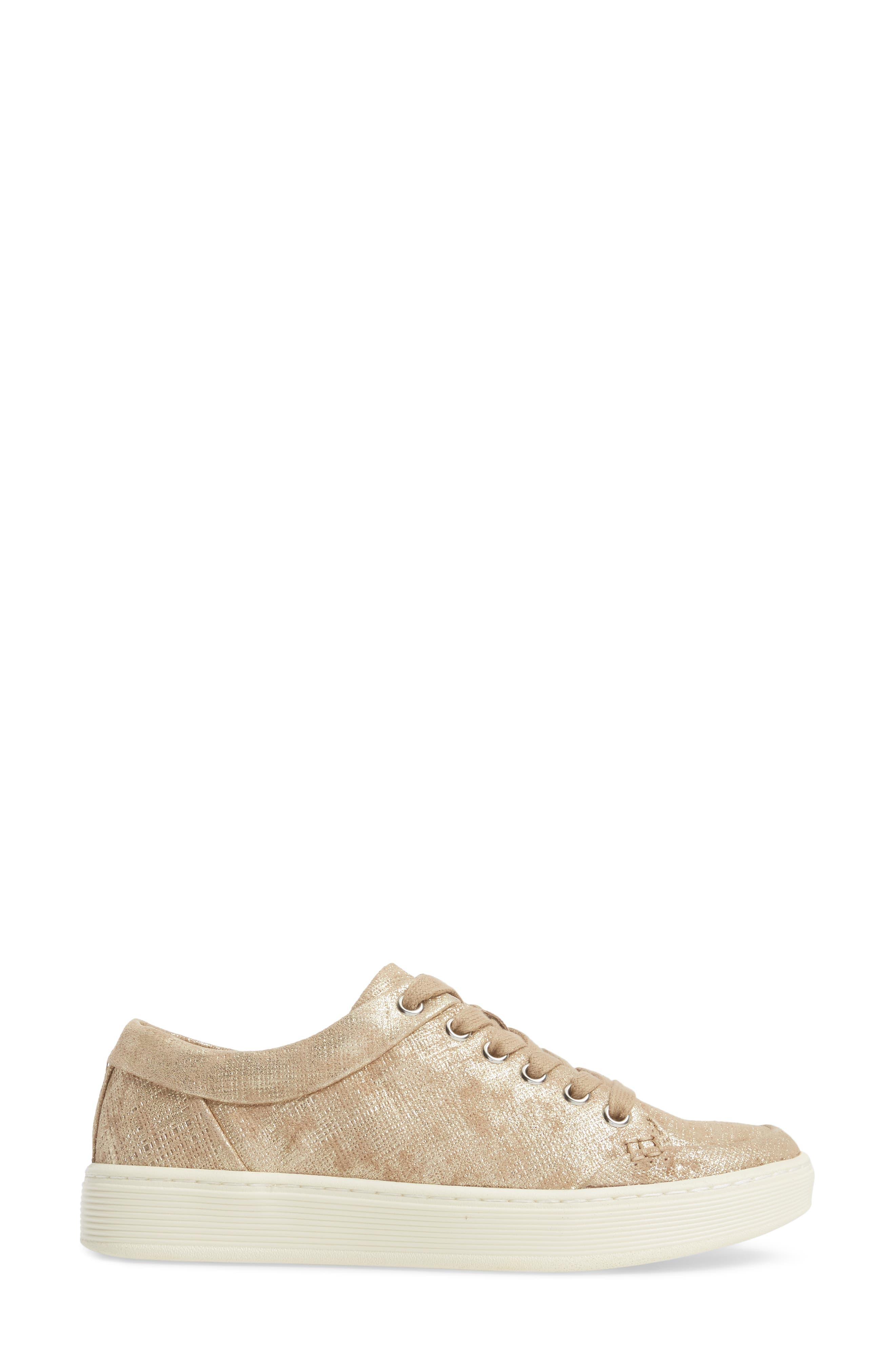 Sanders Sneaker,                             Alternate thumbnail 3, color,                             Platino Distressed Suede
