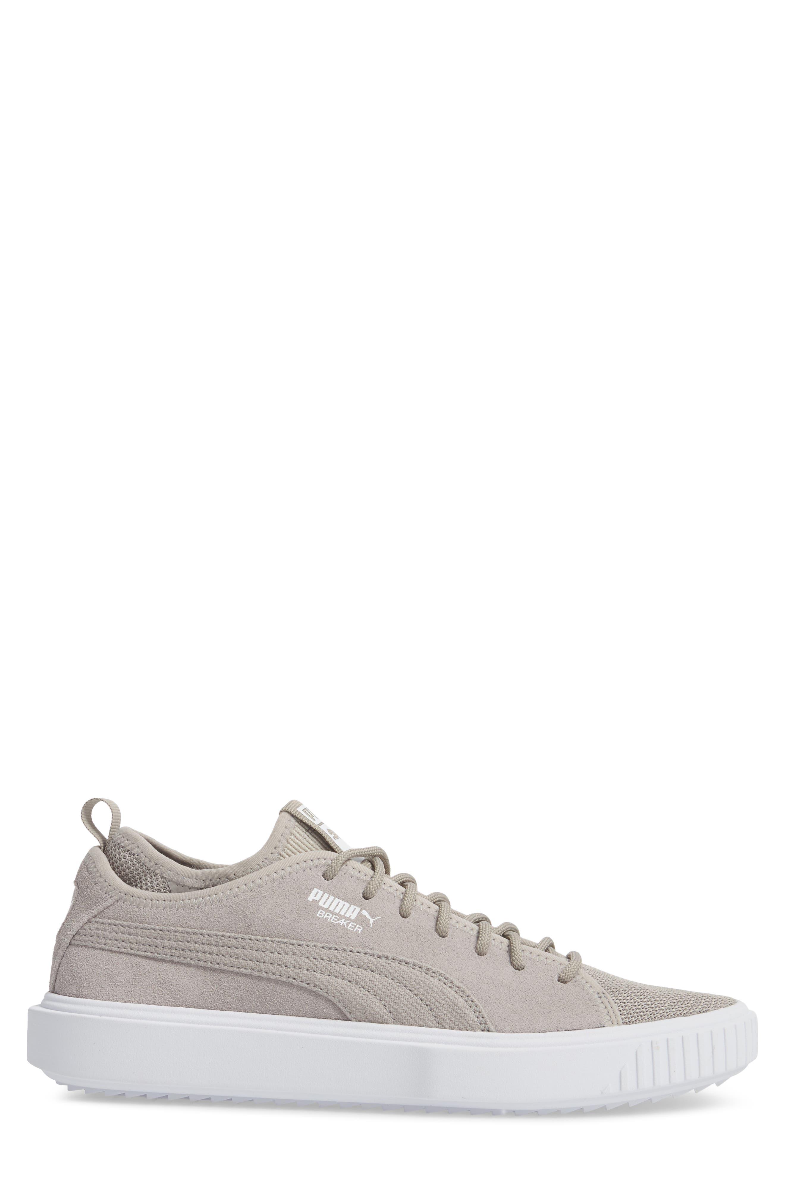 Breaker Mesh Sneaker,                             Alternate thumbnail 3, color,                             Ash/ White Suede