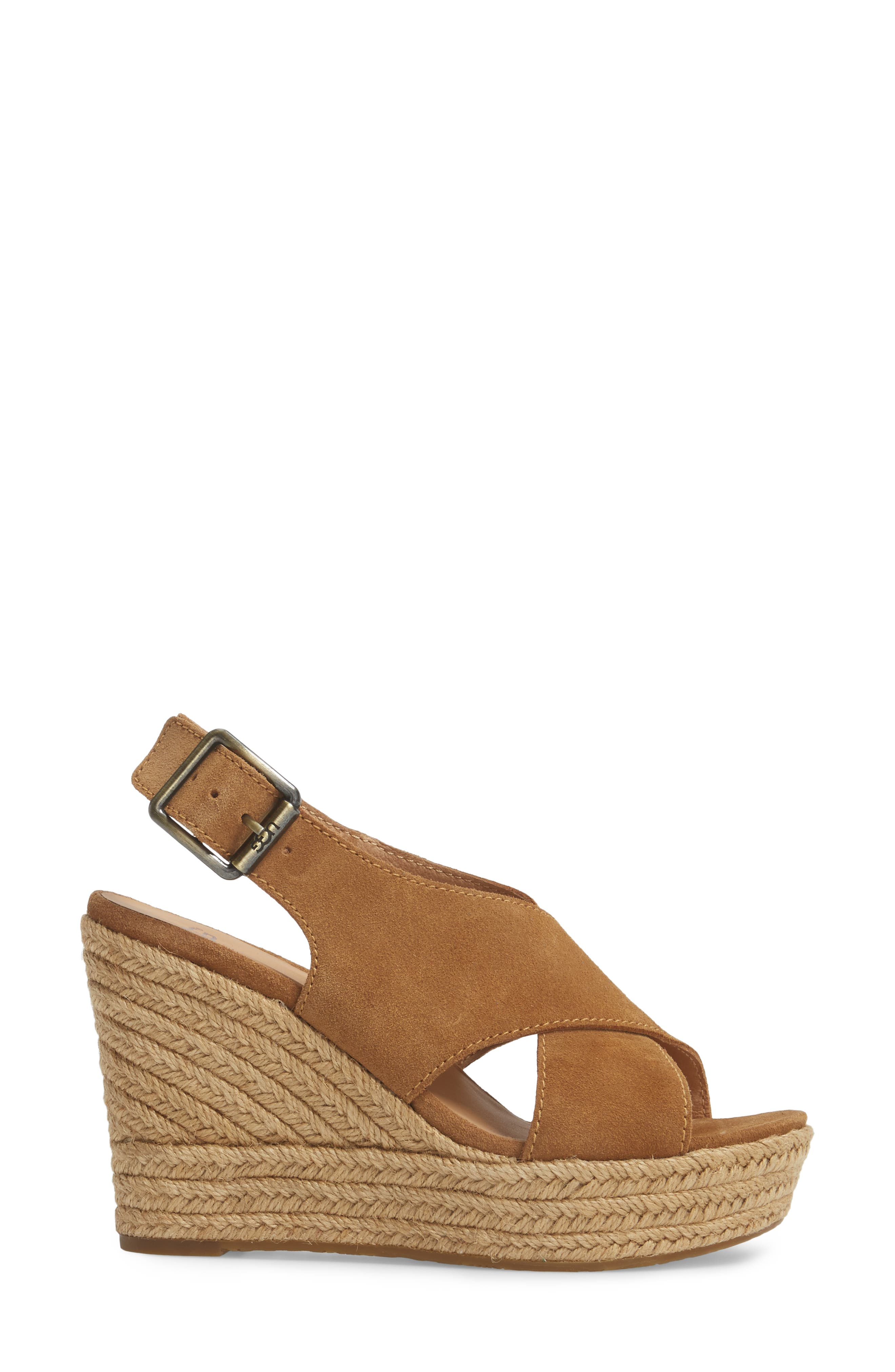 Harlow Platform Wedge Sandal,                             Alternate thumbnail 3, color,                             Chestnut Suede