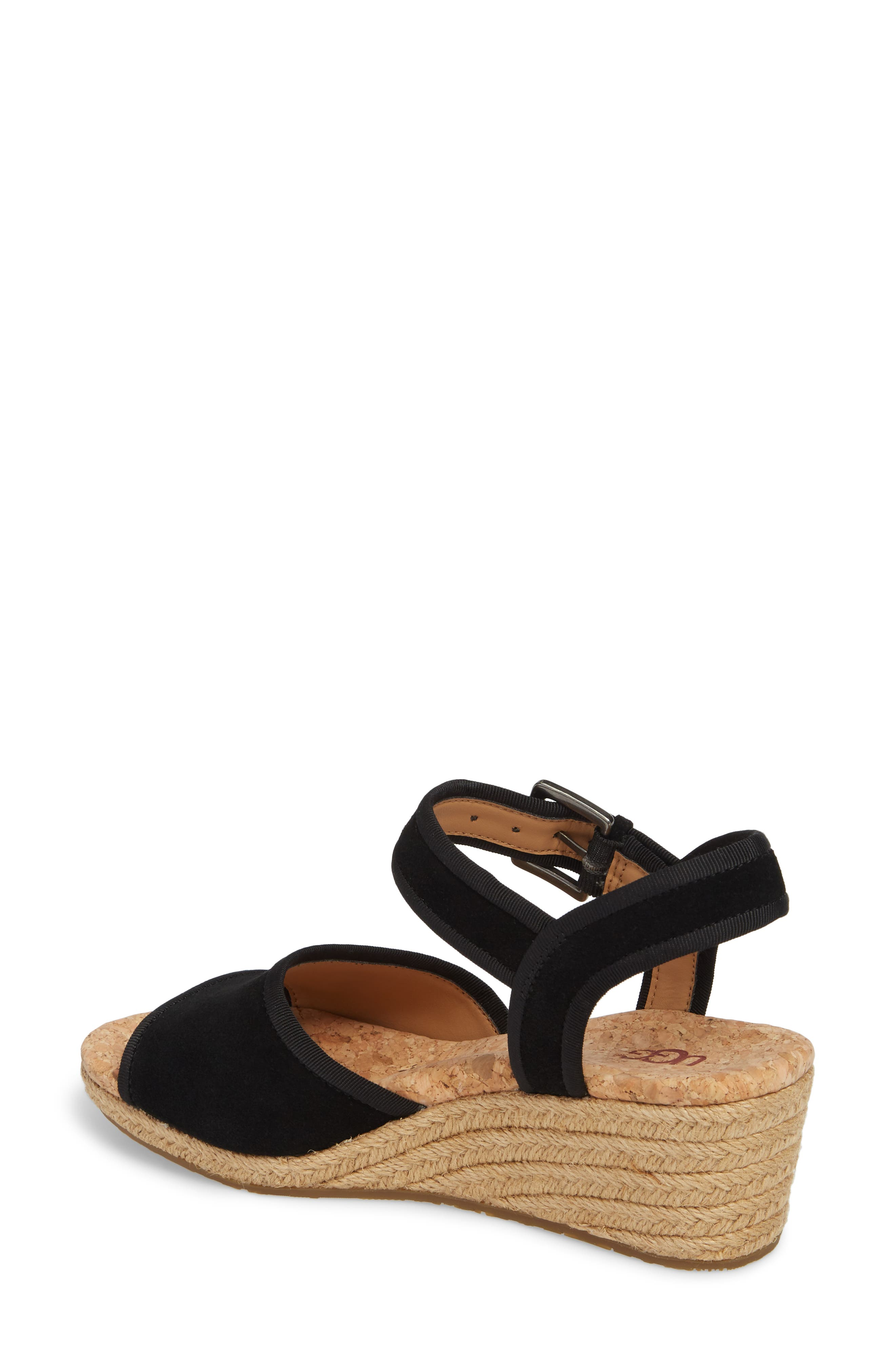 Maybell Wedge Sandal,                             Alternate thumbnail 2, color,                             Black Suede